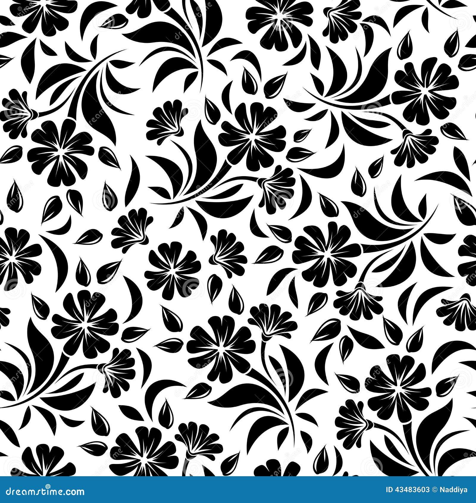 Teste padrão sem emenda com flores pretas em um fundo branco Ilustração do vetor