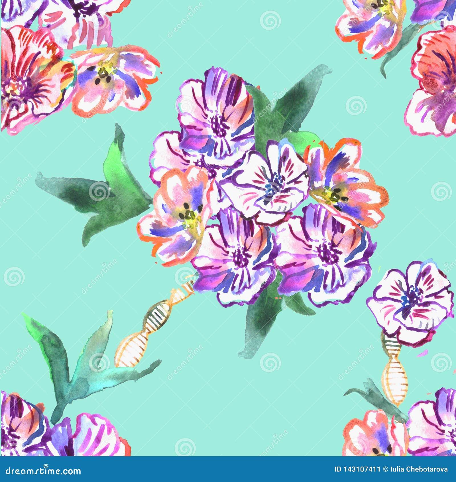 Teste padrão sem emenda com flores watercolor
