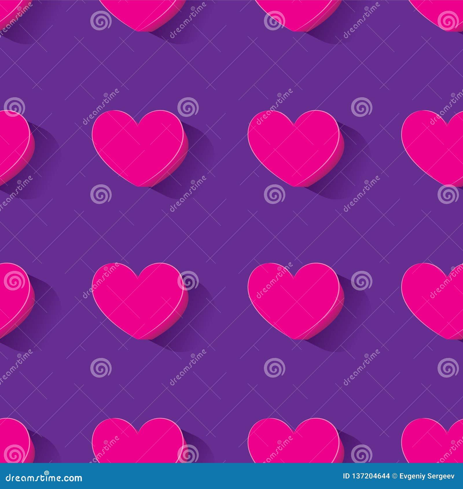 Teste padrão sem emenda com imagem do coração-vetor 3d