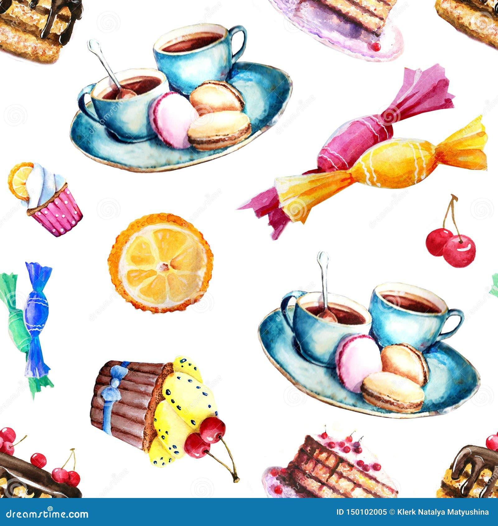 Teste padrão sem emenda com a imagem dos doces - bolo, doces, bolo, chá Elementos para o projeto das cópias, fundos, papel de par