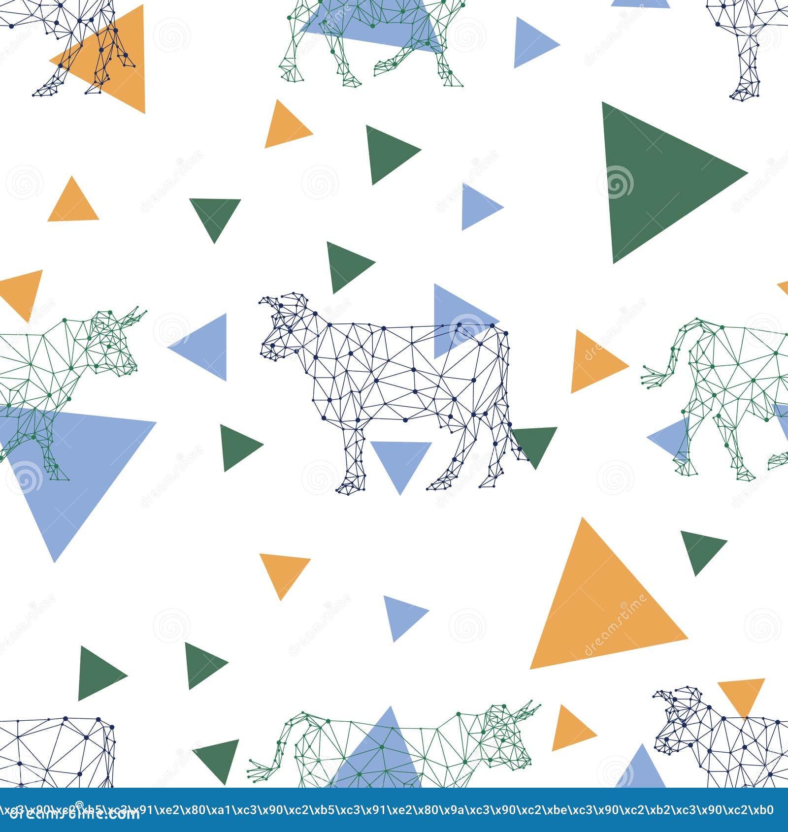 Teste padrão sem emenda com imagens poligonais das vacas e dos triângulos