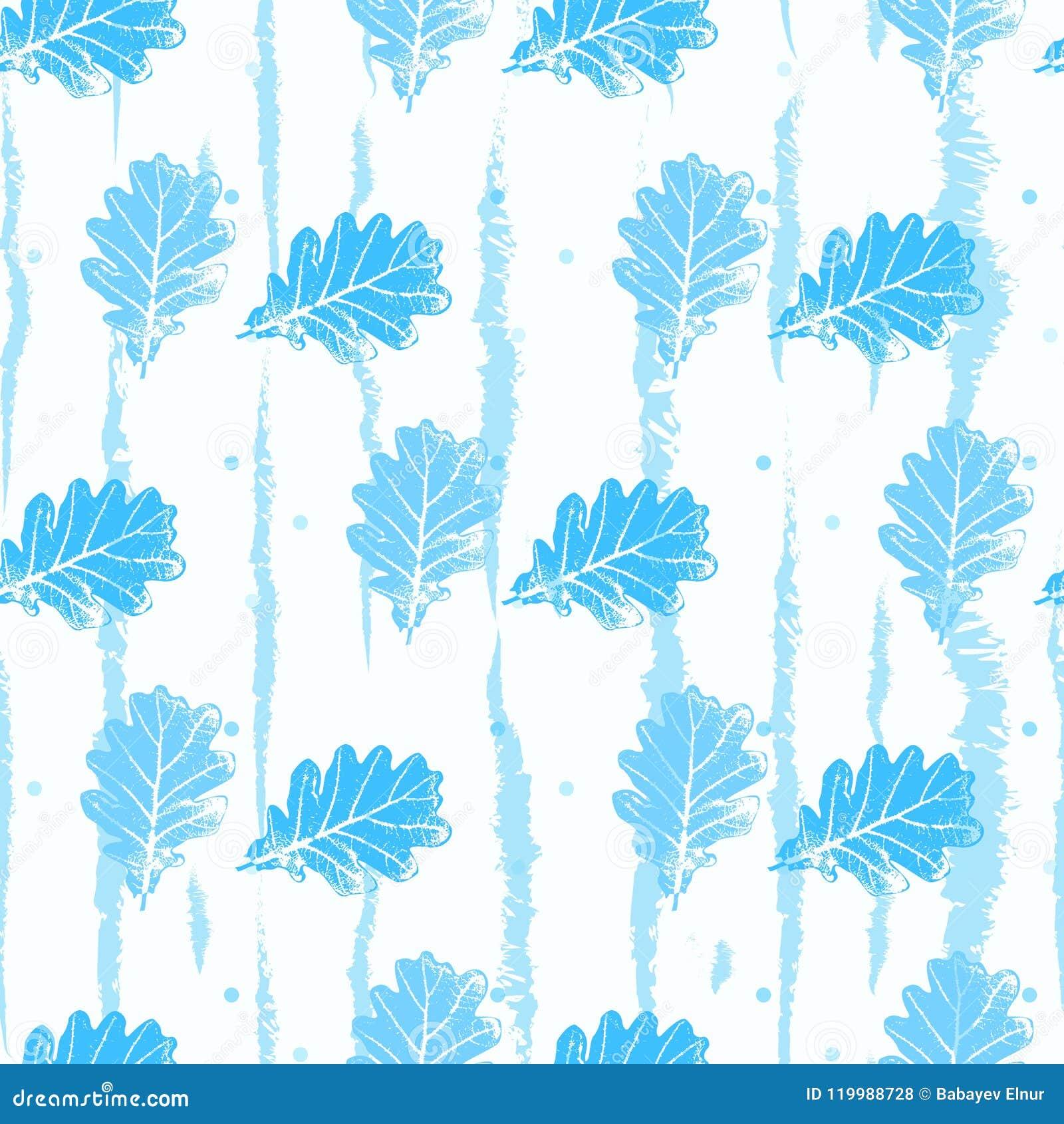 Teste padrão sem emenda com luz laçado do contorno - o azul deixa árvores em um fundo branco