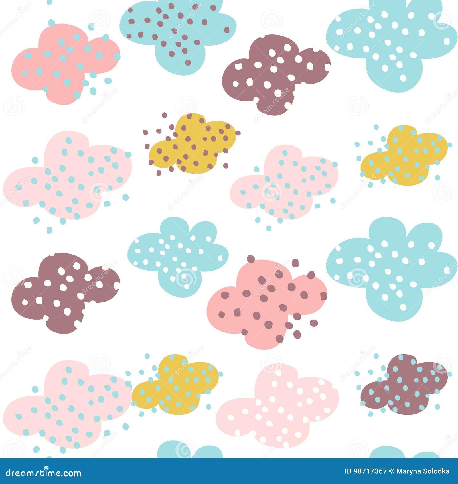 Teste padrão sem emenda com nuvens e formas tiradas mão Fundo criançola criativo para a tela, matéria têxtil