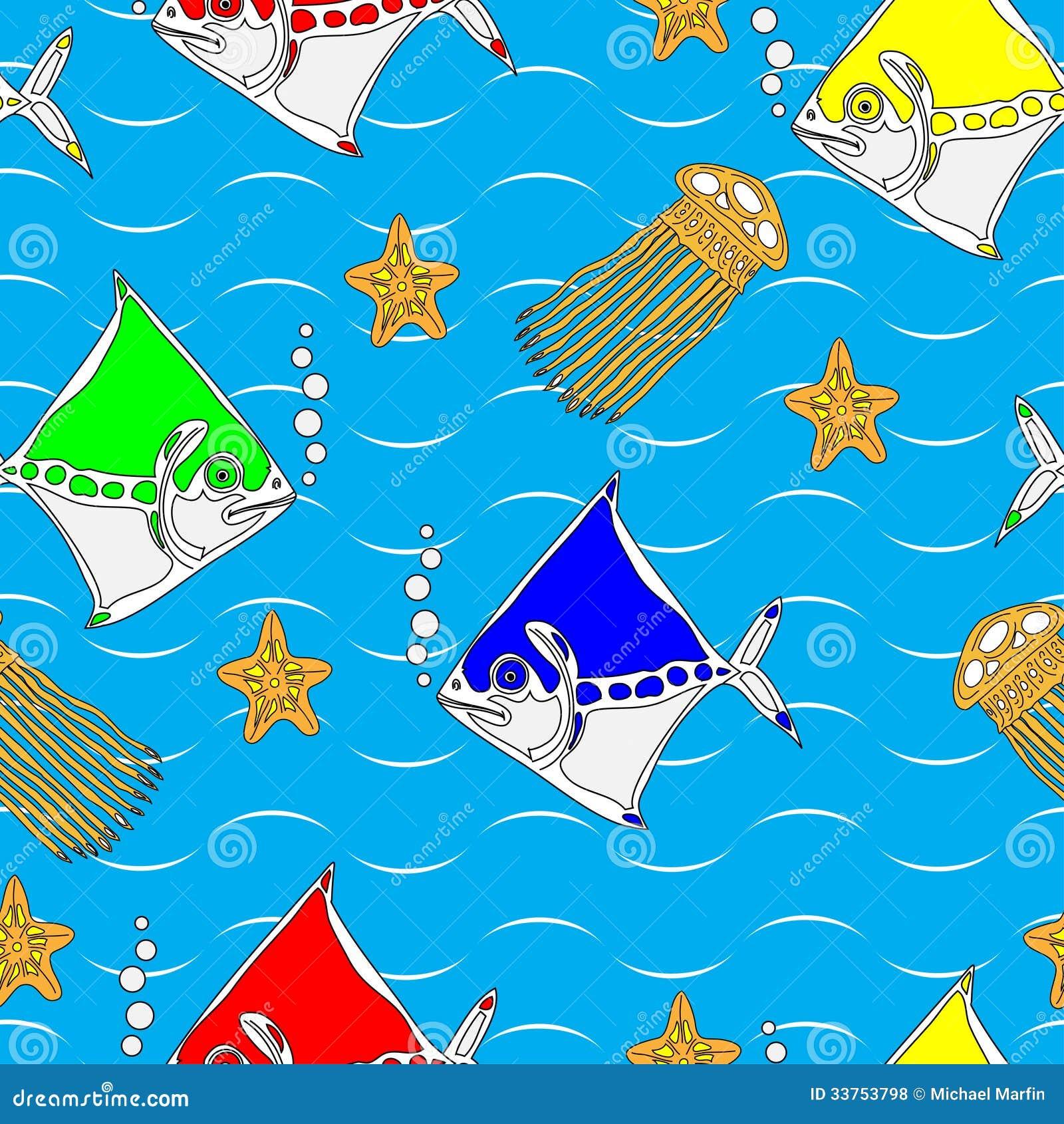 Teste padrão sem emenda com os animais de mar estilizados
