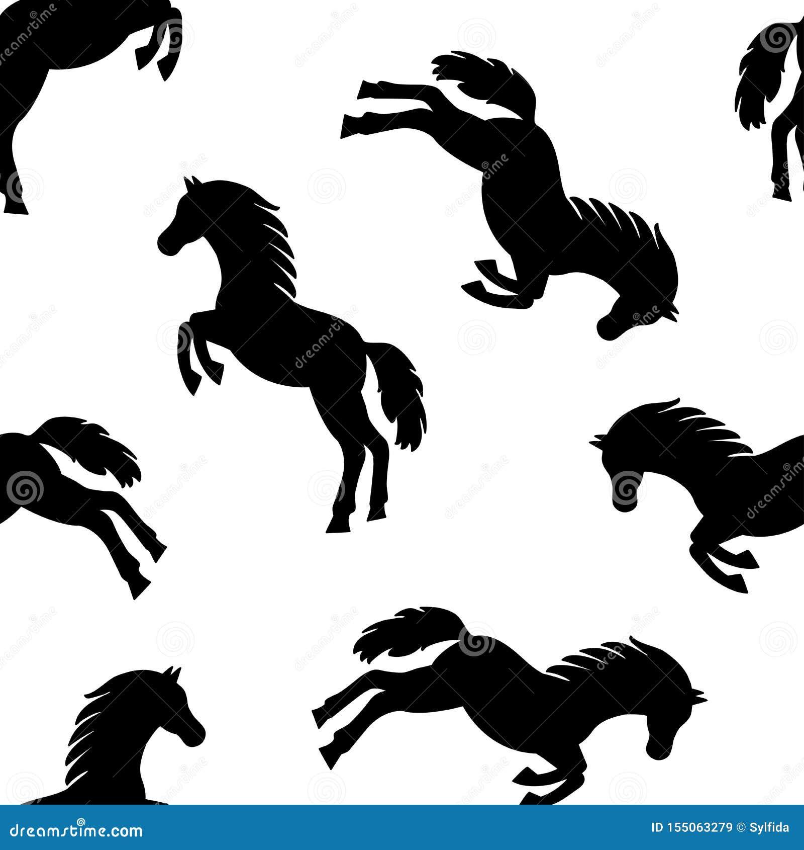Teste padrão sem emenda com os cavalos pretos isolados no fundo branco Vetor