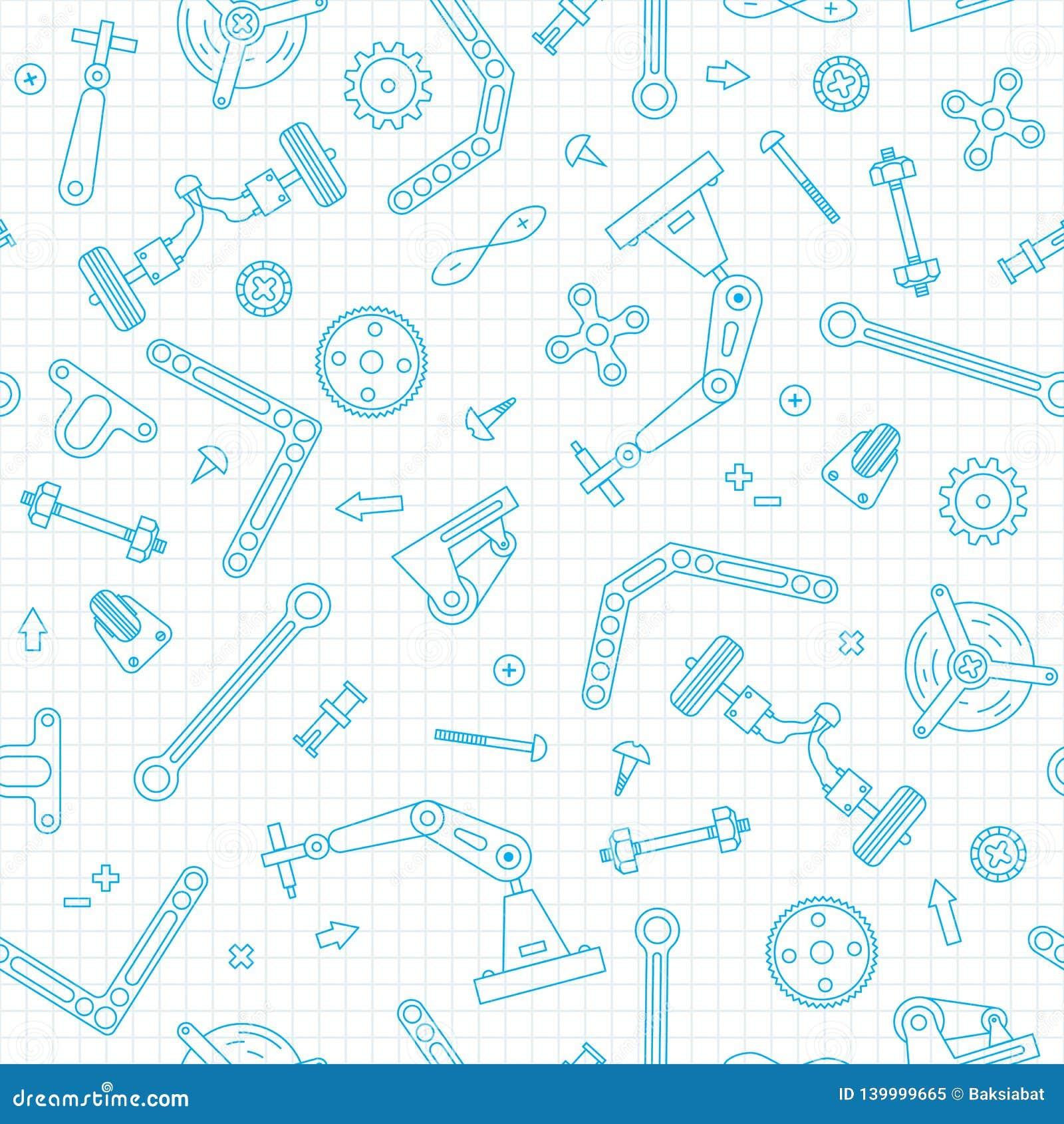 Teste padrão sem emenda com os detalhes e as engrenagens para a robótica da construção Ilustração do vetor