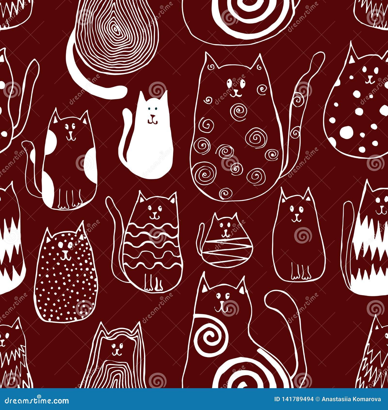 Teste padrão sem emenda com os gatos bonitos da garatuja Arte animal do esboço