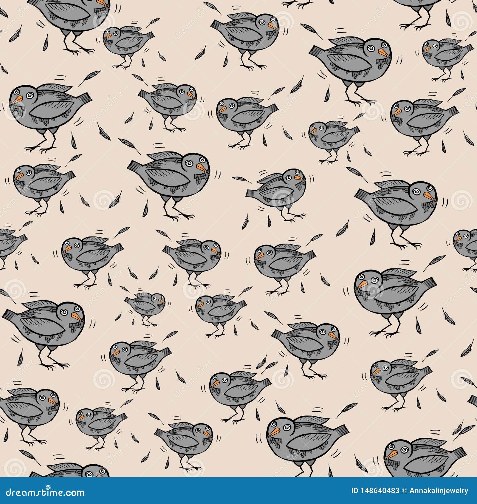 Teste padrão sem emenda com os pombos e as penas engraçados dos desenhos animados