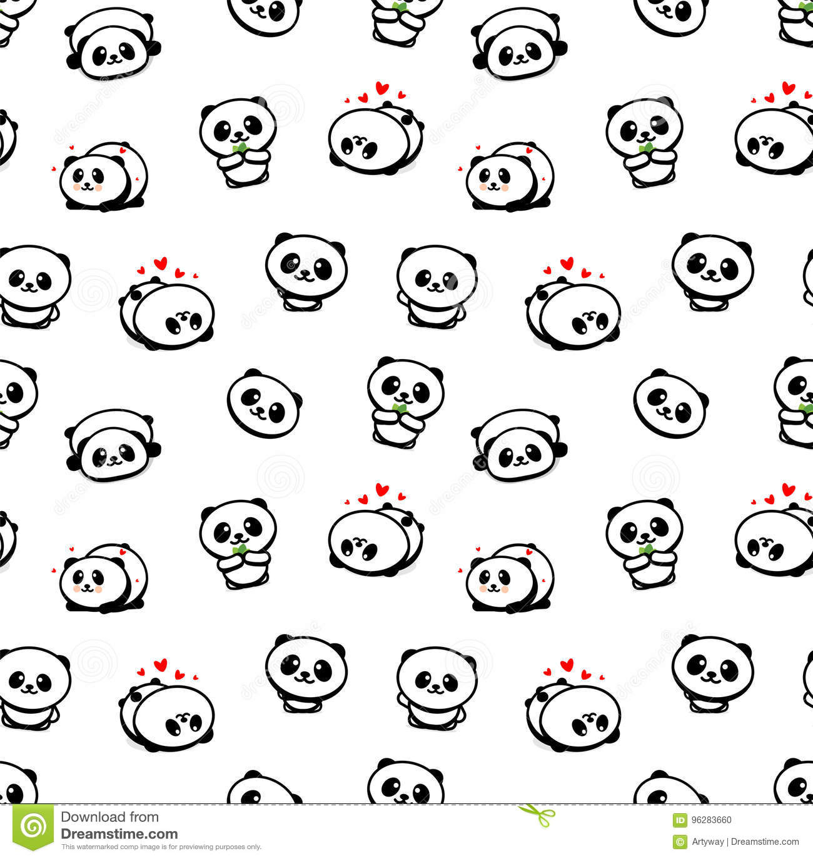 Teste padrão sem emenda com Panda Asian Bear Vetora Illustrations bonito, coleção de elementos simples da textura dos animais chi