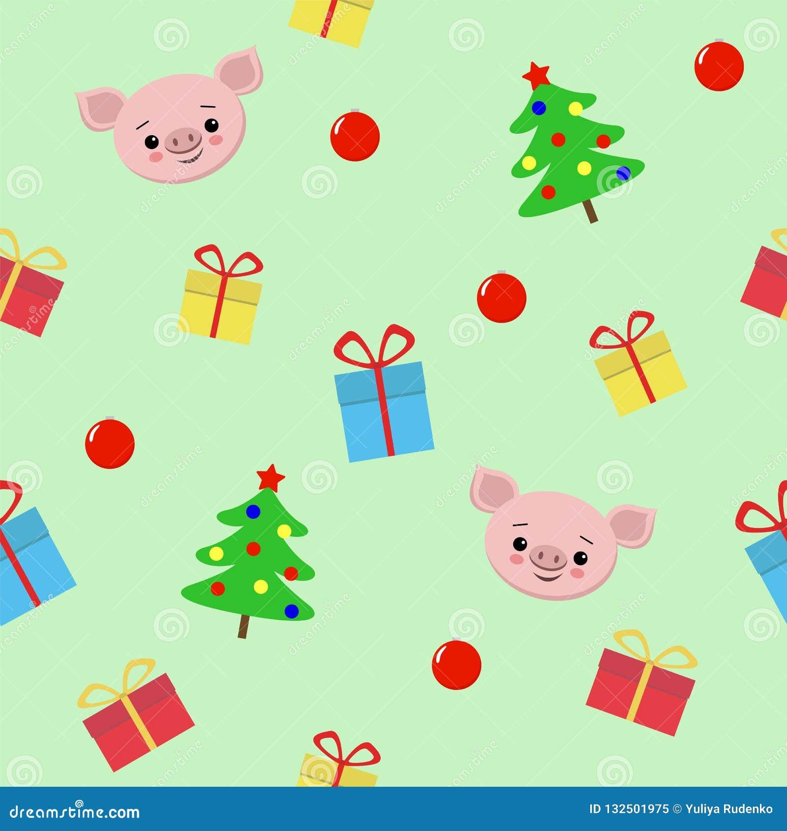 Teste padrão sem emenda com presentes, porco bonito do Natal, ilustração do vetor da árvore de Natal para a matéria têxtil, cartã