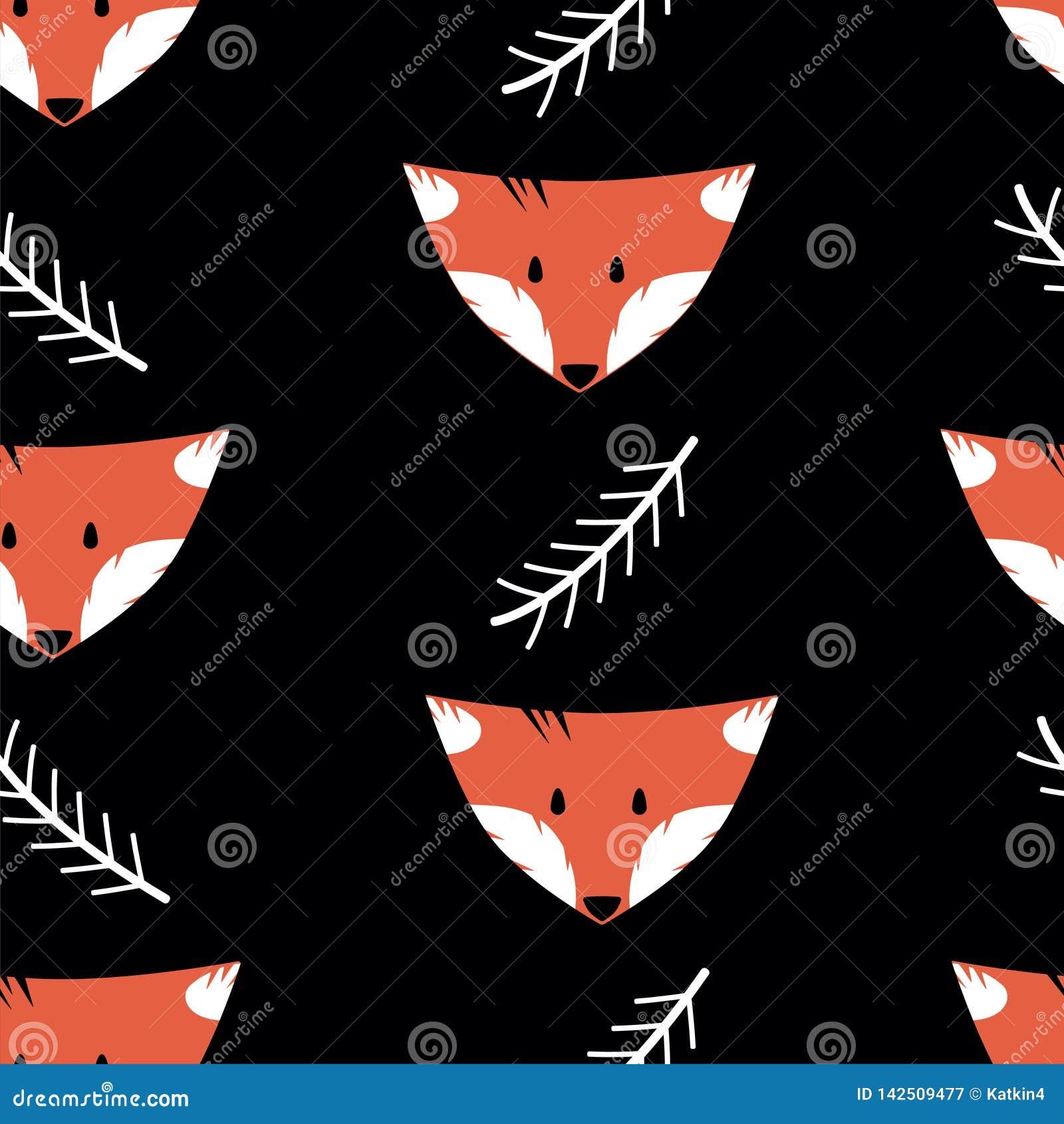 Teste padrão sem emenda com raposas e galhos em um fundo preto