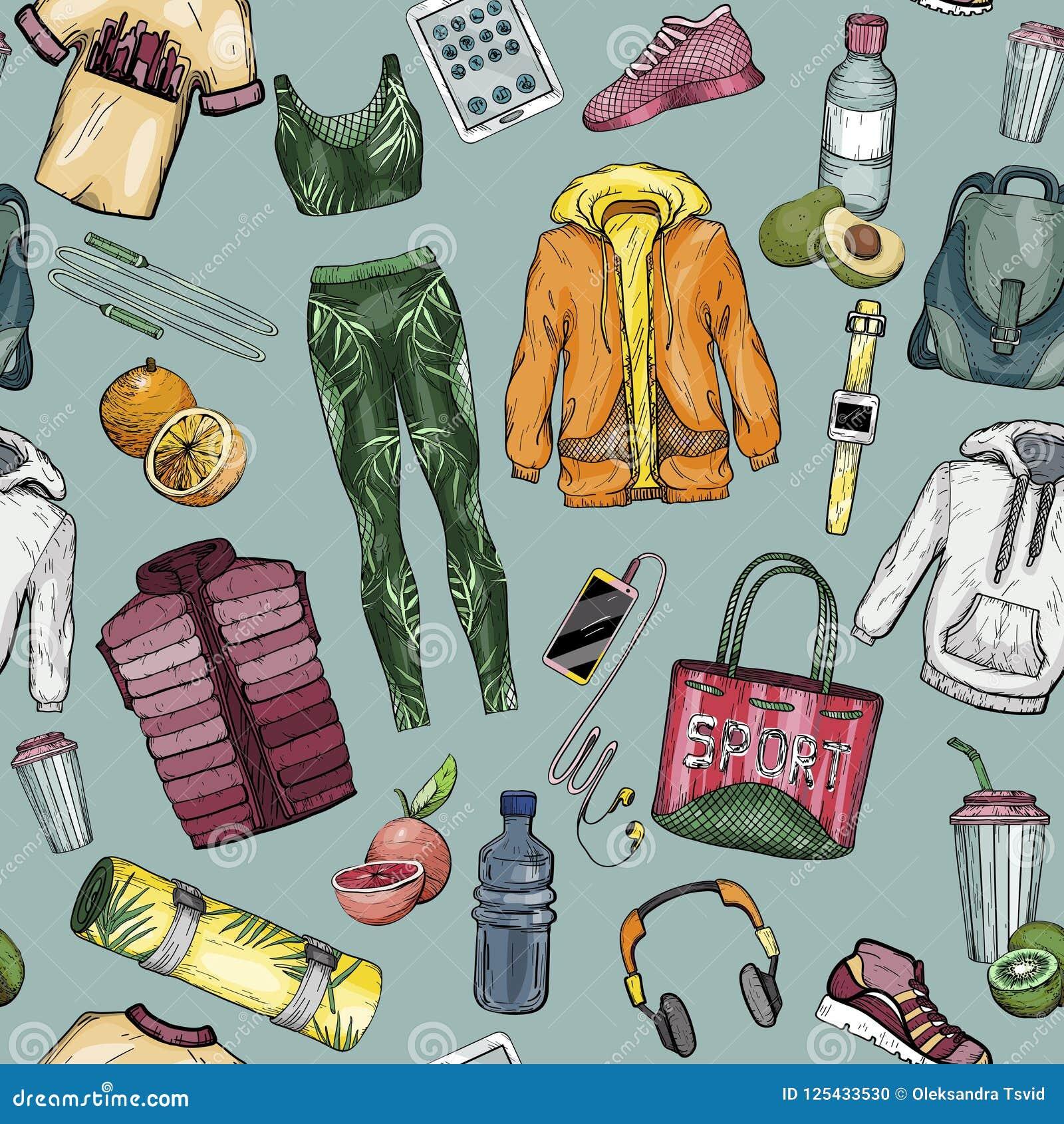 Teste padrão sem emenda com sportswear e grupo saudável do estilo de vida