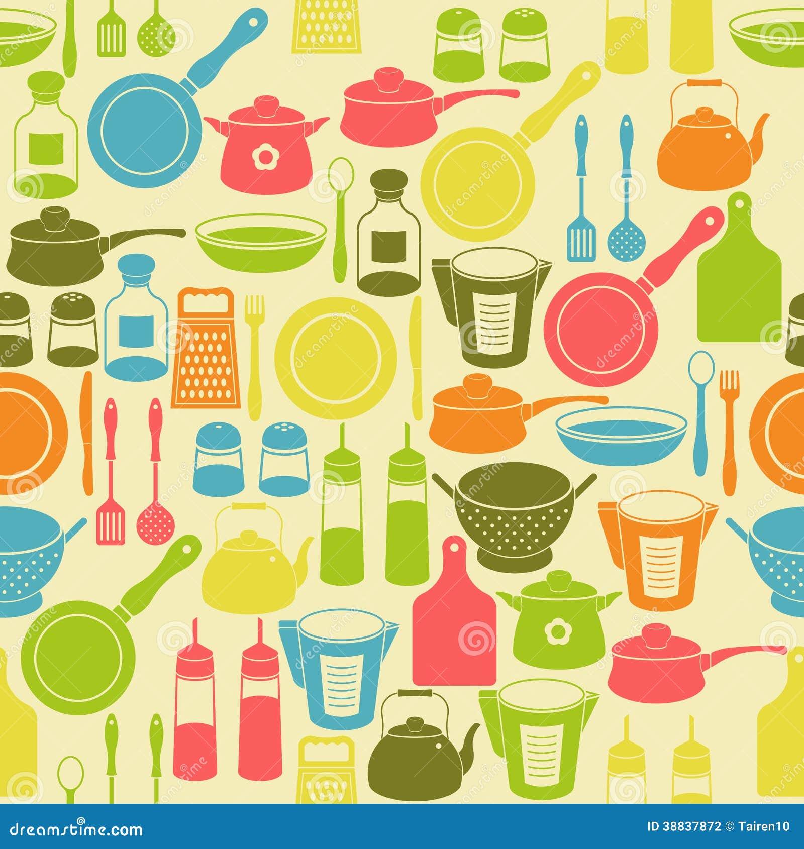 Teste Padr O Sem Emenda Com Utens Lios Da Cozinha