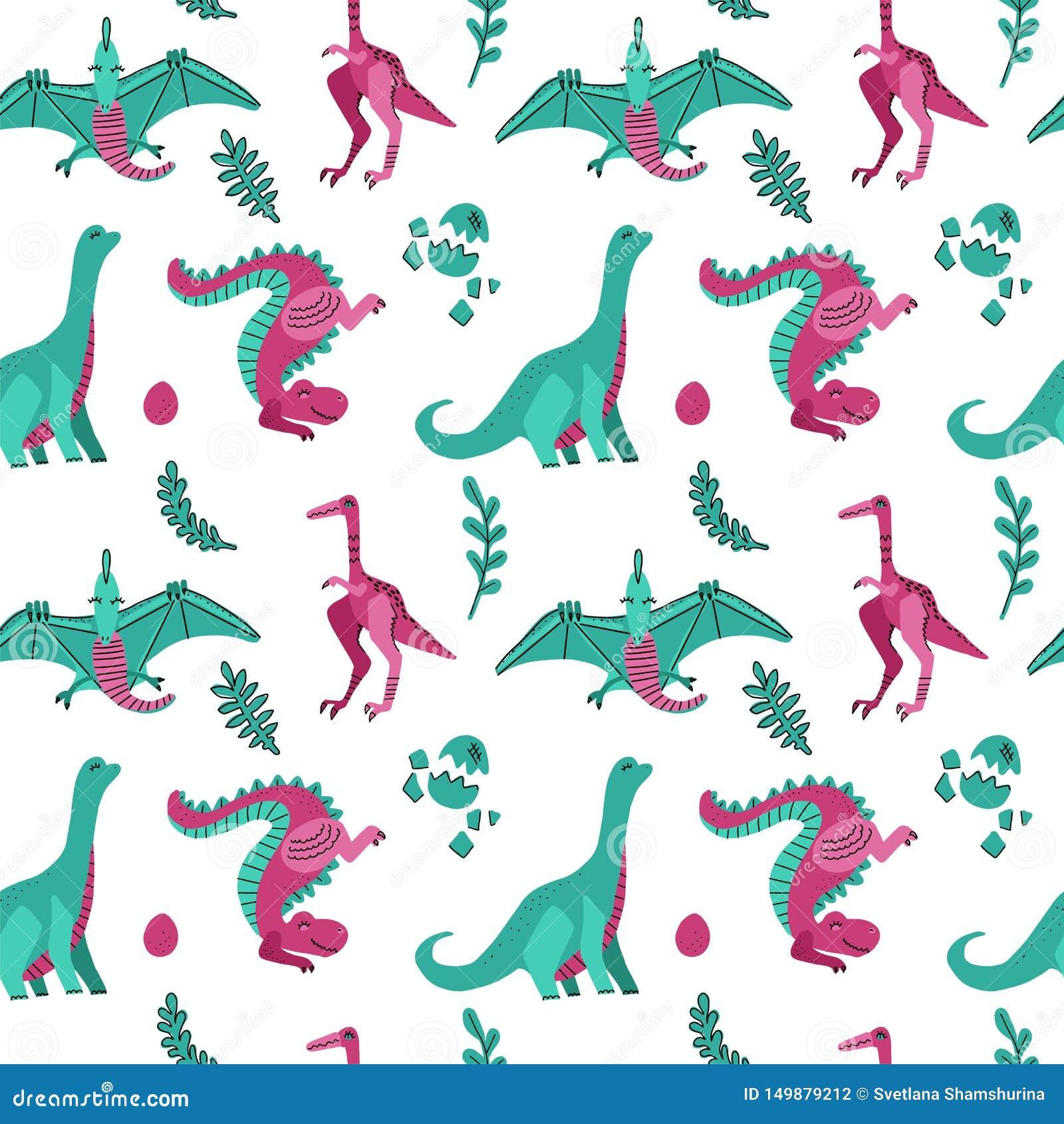 Teste padrão sem emenda criançola bonito do vetor com os dinossauros com ovos, plantas Dinos engraçados dos desenhos animados no