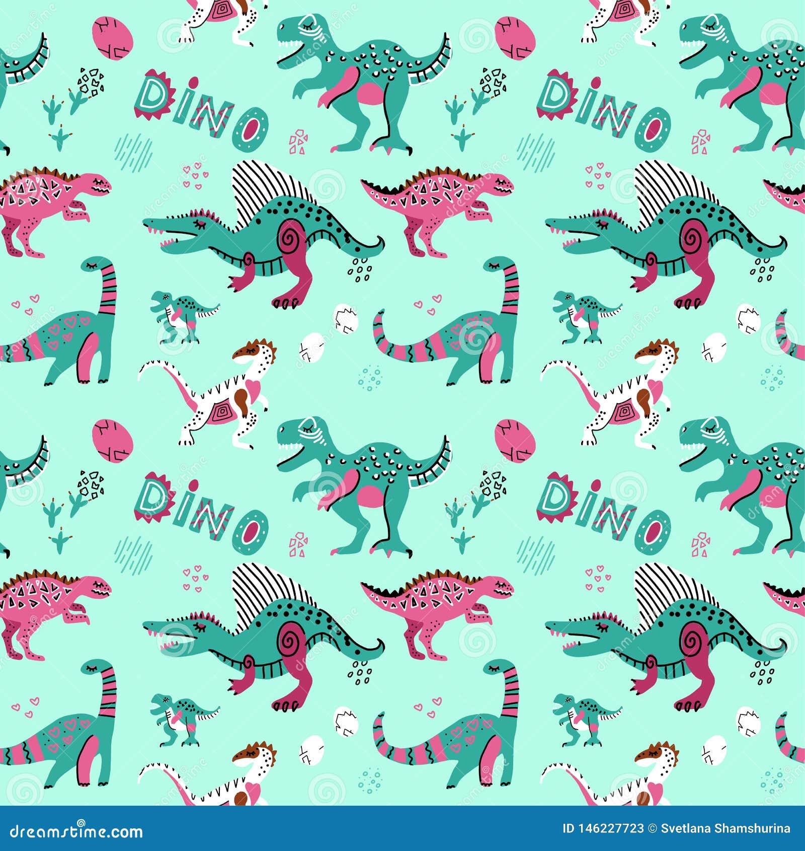Teste padrão sem emenda criançola bonito do vetor com ovos do dinosaurswith, decoração e palavras Dino Desenhos animados engra?ad