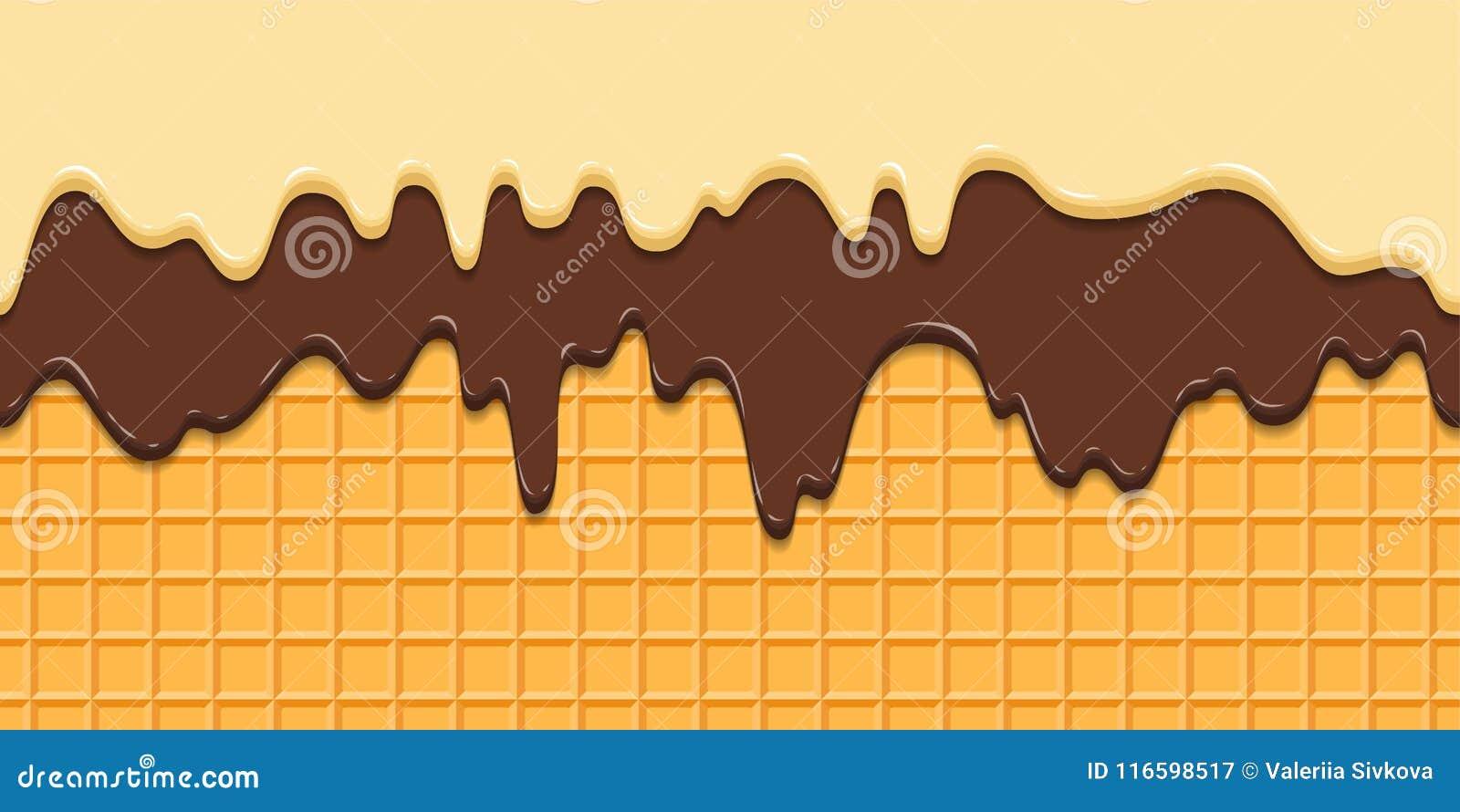 Teste padrão sem emenda A crosta de gelo e o chocolate atuais no waffle texture o fundo, cone do waffle com gelado cartoon