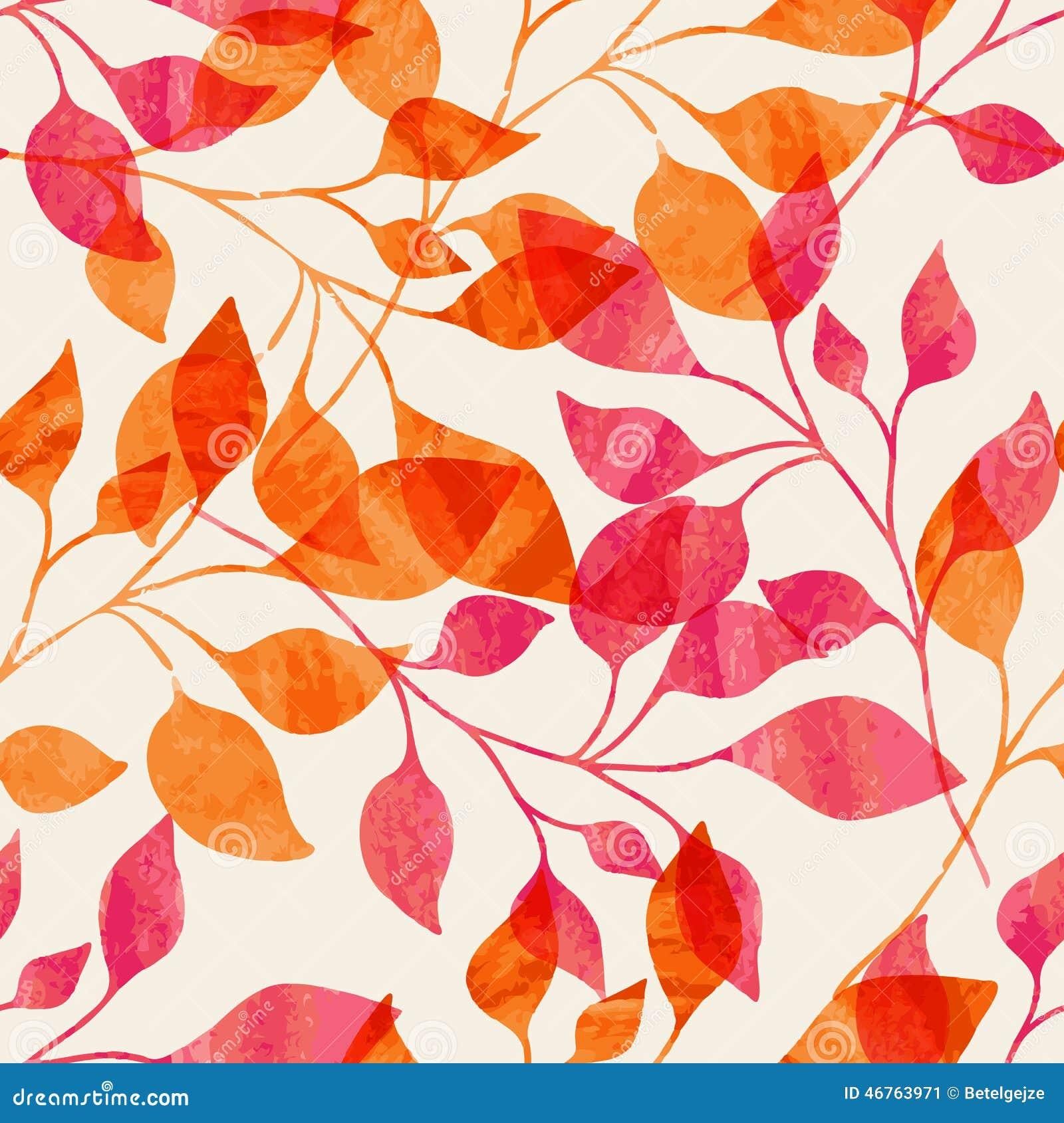 Teste padrão sem emenda da aquarela com as folhas de outono cor-de-rosa e alaranjadas