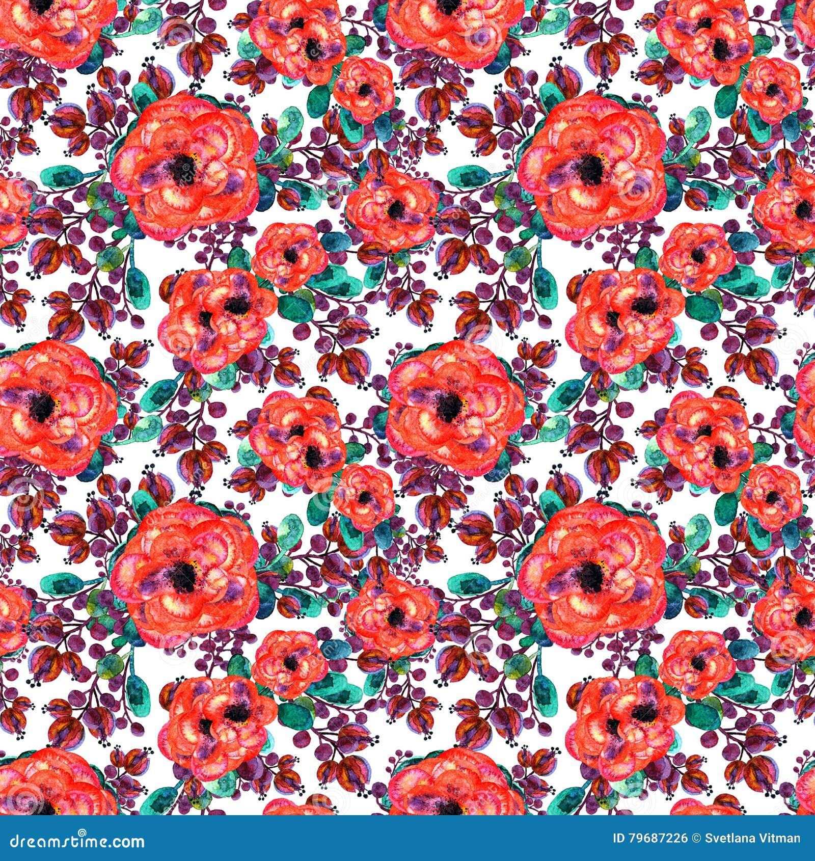 Teste padrão sem emenda da aquarela com cor-de-rosa e a folha Folhas vermelhas do verde das flores, no fundo branco Arte finala i