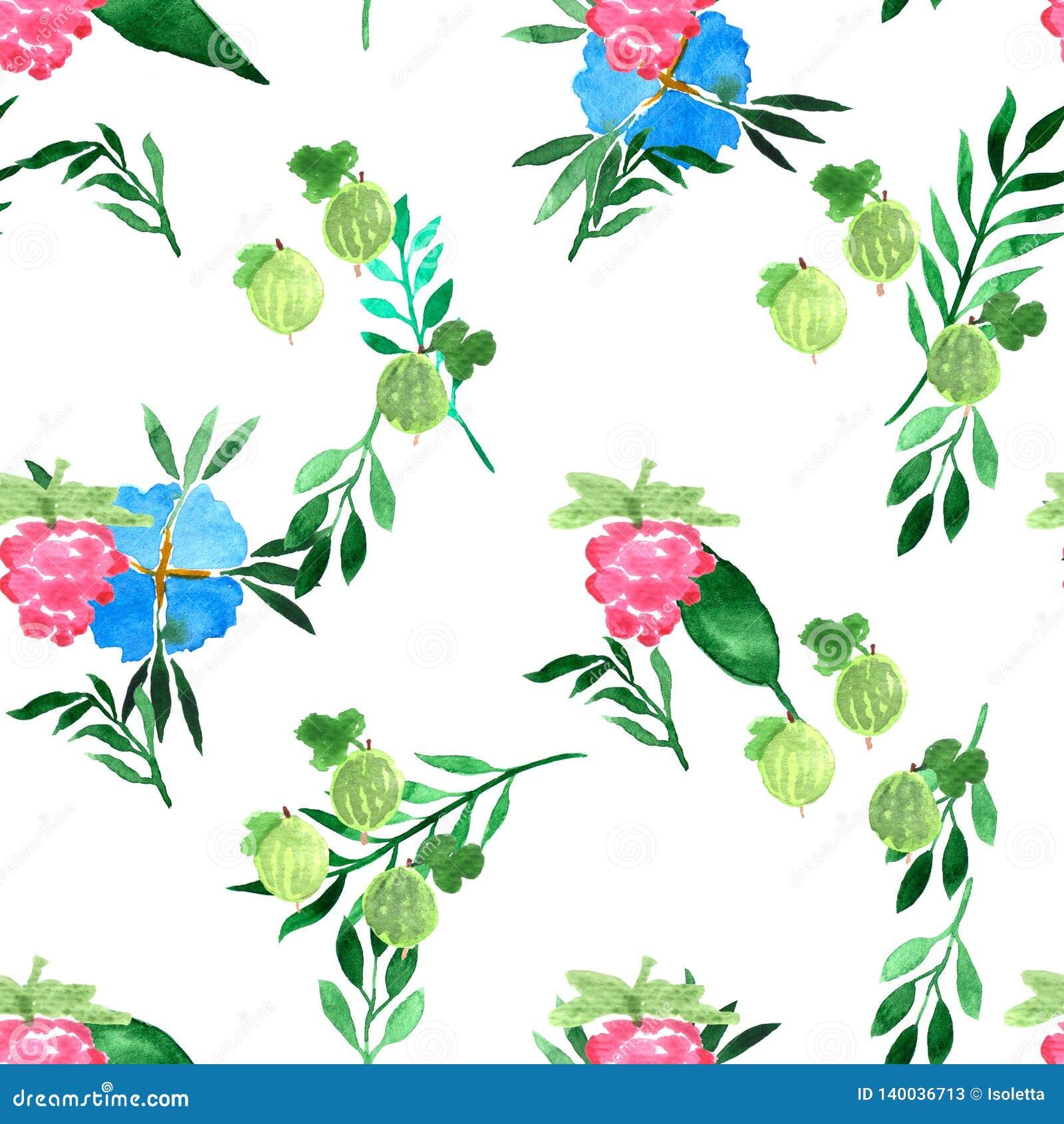 Teste padrão sem emenda da aquarela com flores e as bagas azuis do verão Fundo decorativo Elementos pintados à mão vibrantes Fram
