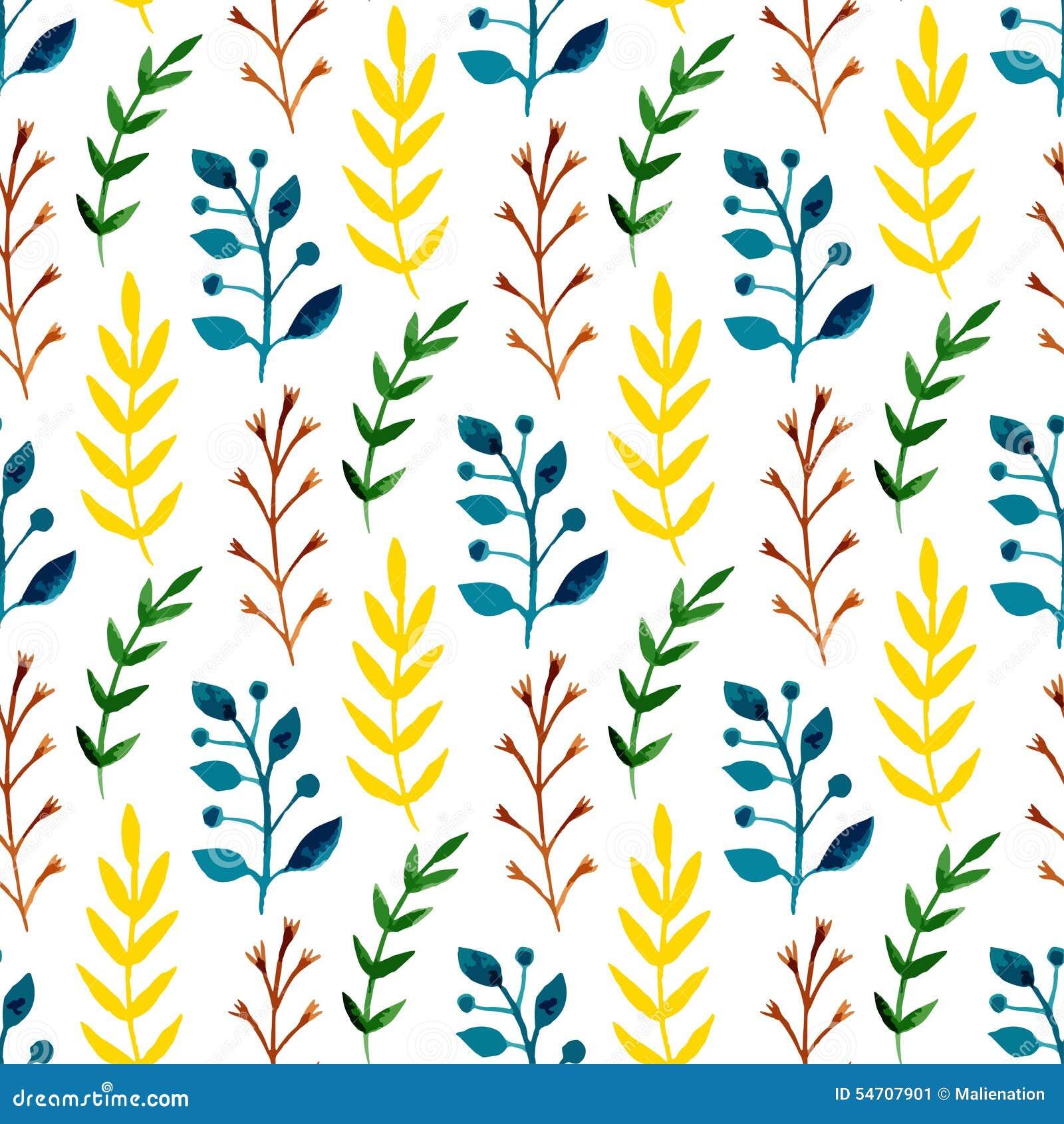 Teste padrão sem emenda da aquarela com folhas e ramos coloridos Fundo sazonal do vetor da pintura da mão Pode ser usado envolven