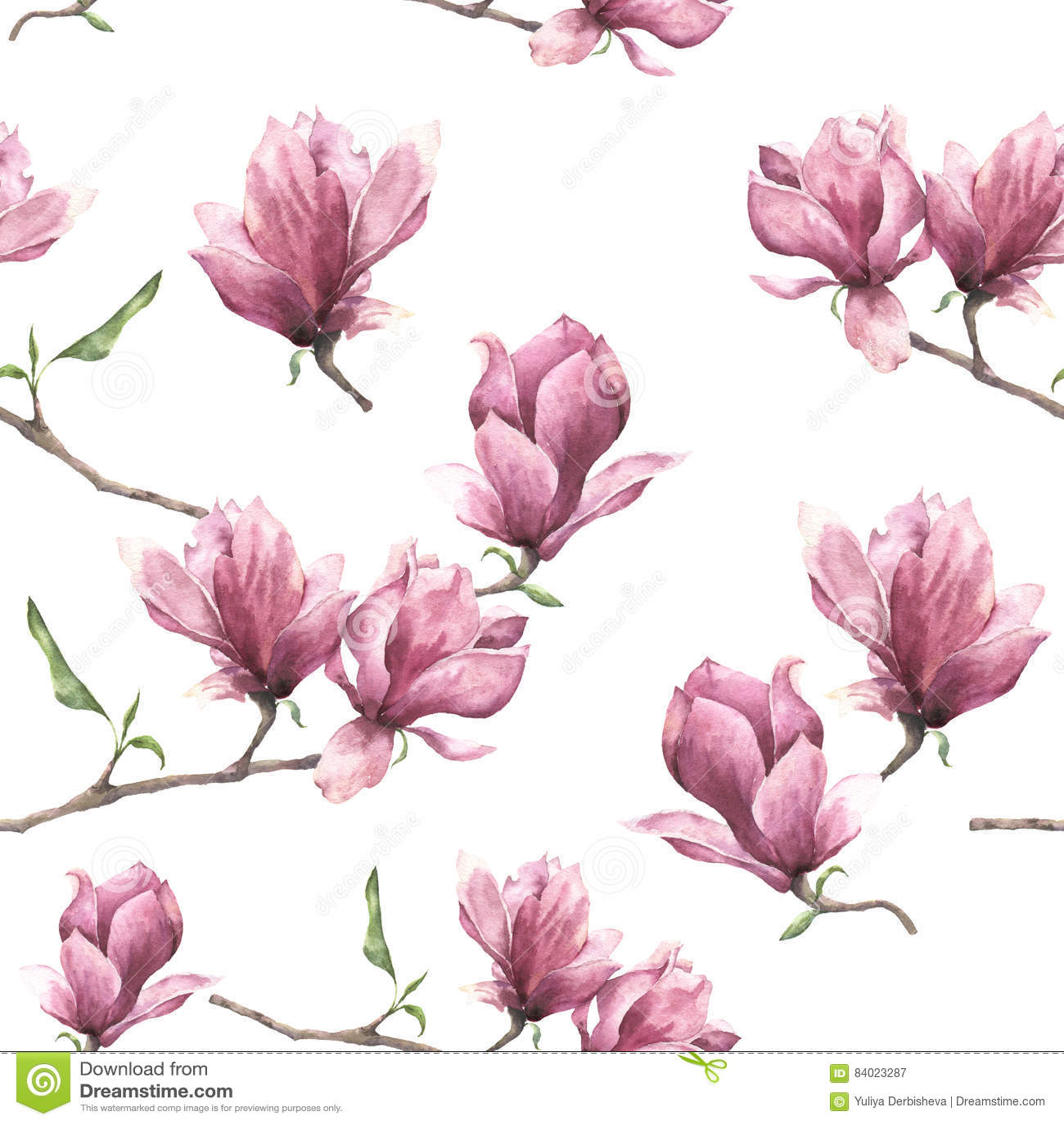 Teste padrão sem emenda da aquarela com magnólia Ornamento floral pintado à mão isolado no fundo branco Flor cor-de-rosa para