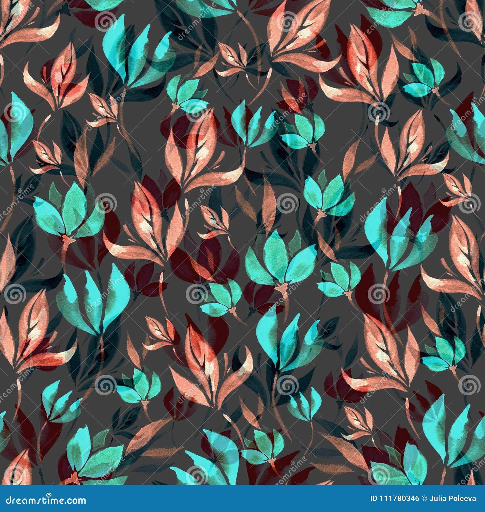 Teste padrão sem emenda da aquarela das flores e das folhas em um fundo preto
