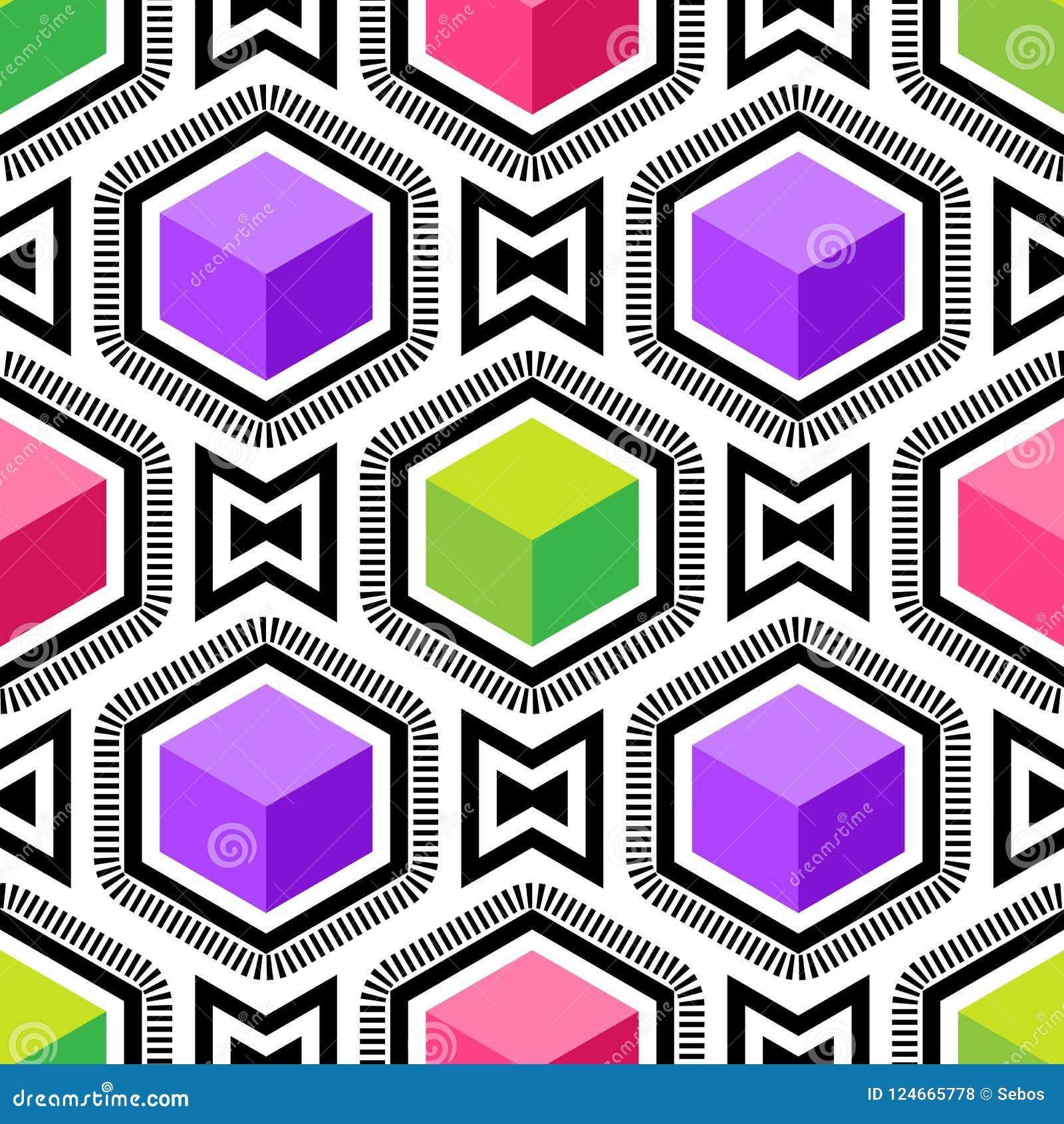 Teste padrão sem emenda da arte op do vetor abstrato Pop art colorido, ornamento gráfico Ilusão ótica