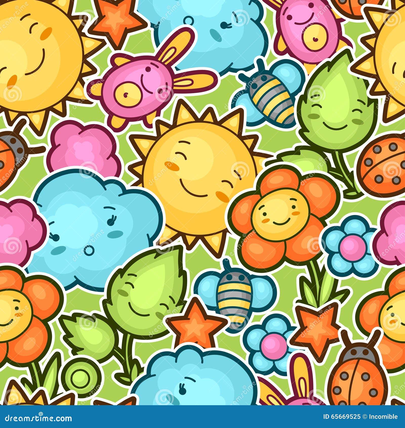 Teste padrão sem emenda da criança do kawaii com garatujas bonitos Coleção da mola de personagens de banda desenhada alegres sol,