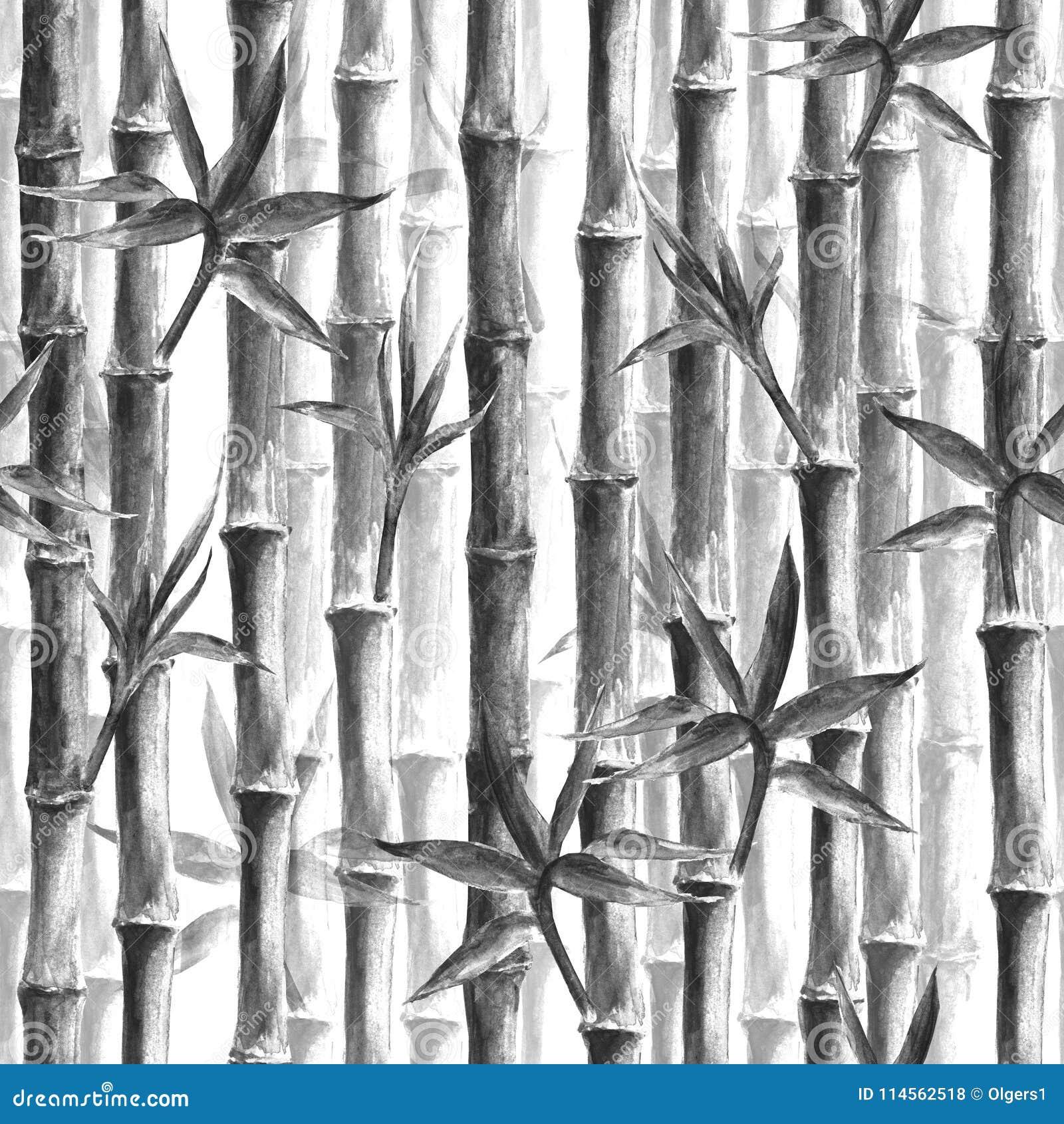 Teste padrão sem emenda da floresta de bambu preto e branco
