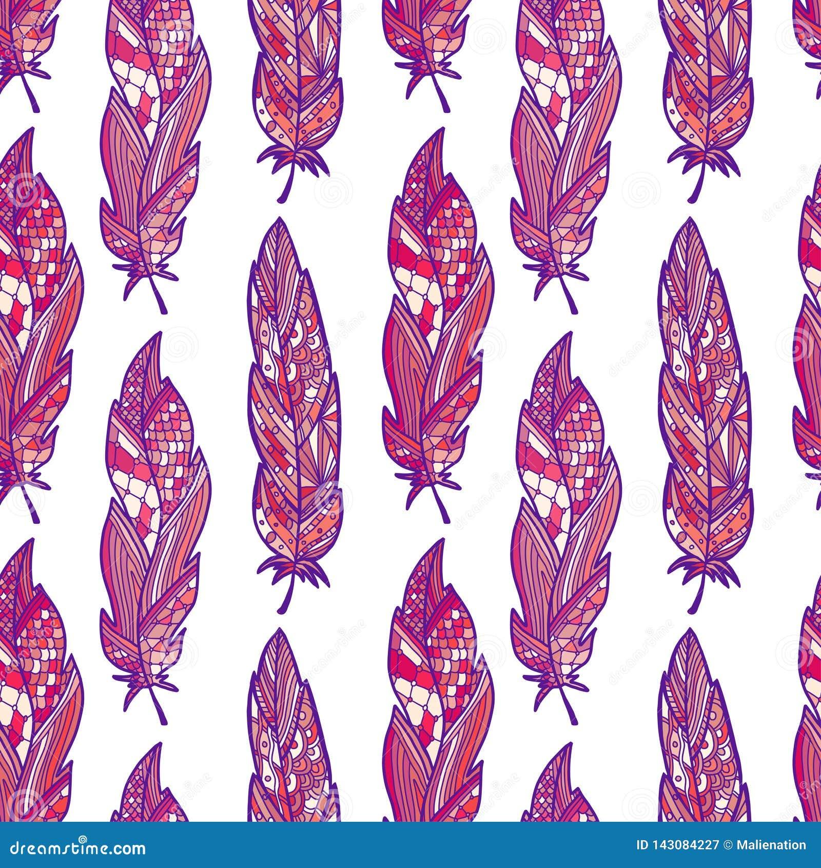 Teste padr?o sem emenda da forma com penas cor-de-rosa Fundo moderno do vetor Teste padr?o na moda para a mat?ria t?xtil da forma