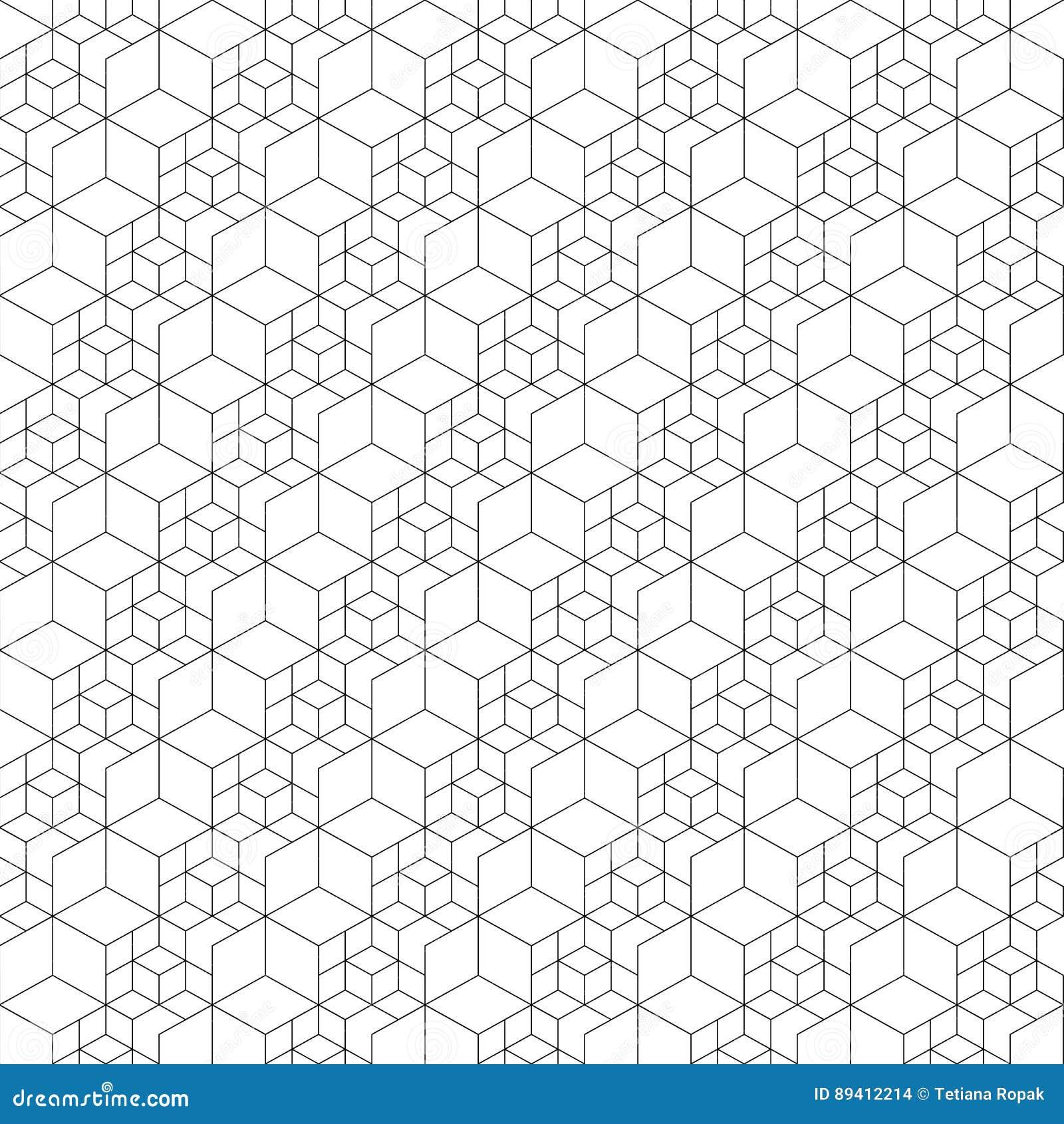 Teste padrão sem emenda da grade Ilustração do vetor Textura sextavada da pilha Fundo da grade Projeto geométrico Textur abstrato