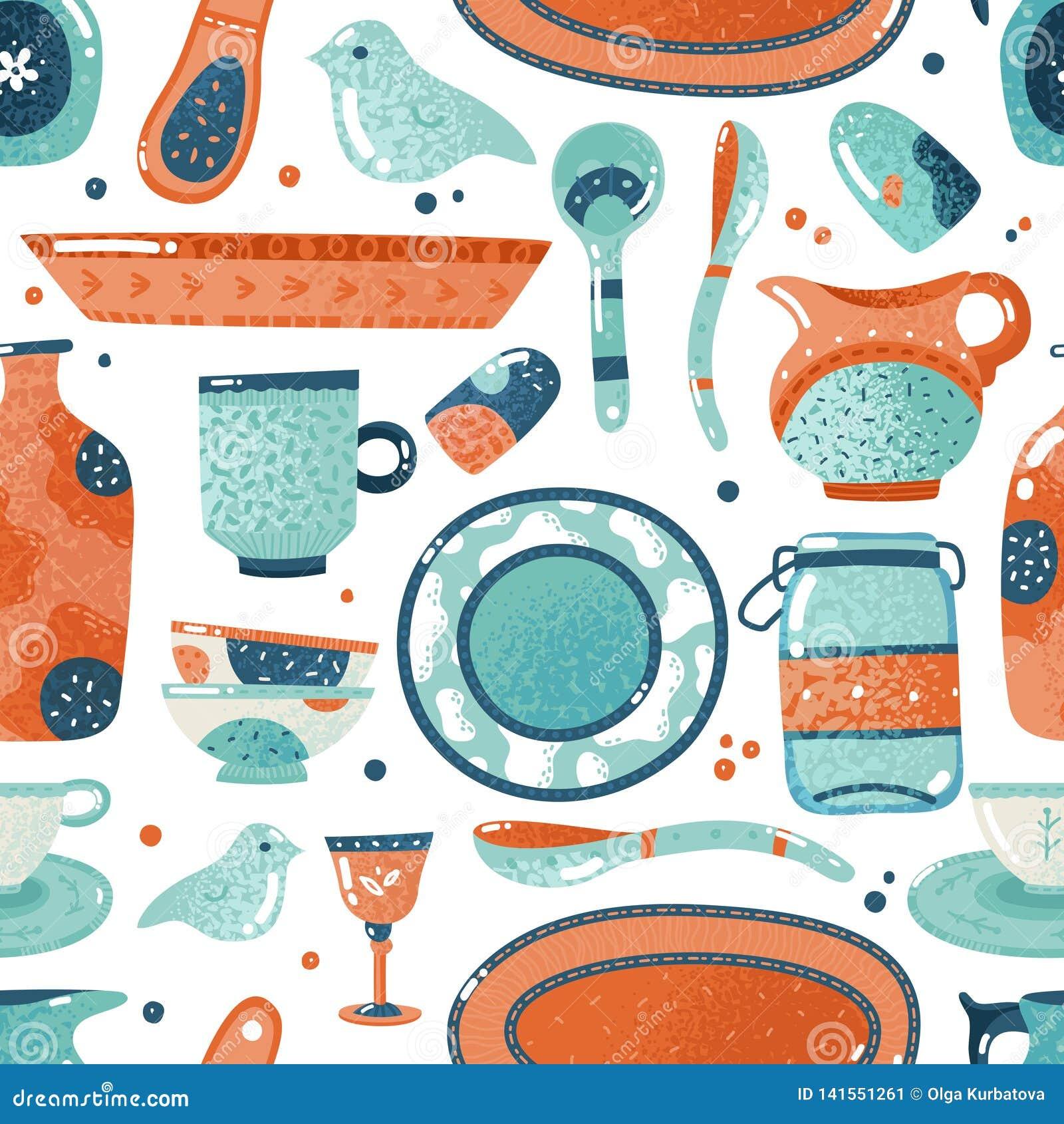 Teste padrão sem emenda da louça Cozinha da aquarela da casa e cozimento do fundo cerâmico do jarro do copo do prato da bacia dos