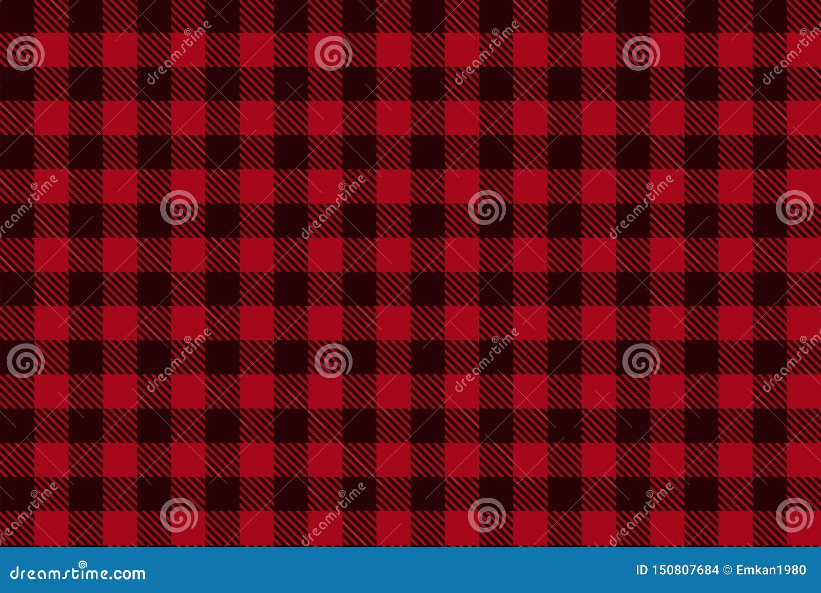 Teste padrão sem emenda da manta preta vermelha do lenhador
