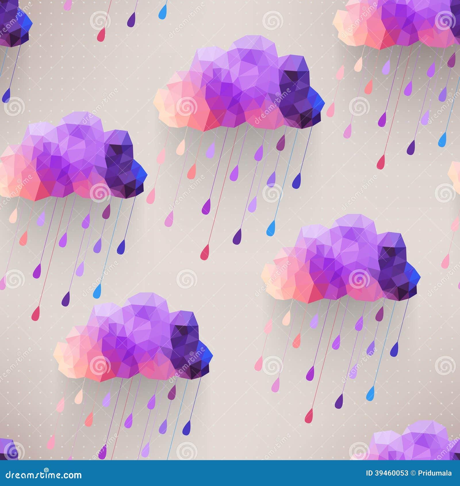 Teste padrão sem emenda da nuvem retro com símbolo da chuva, backgroun do moderno