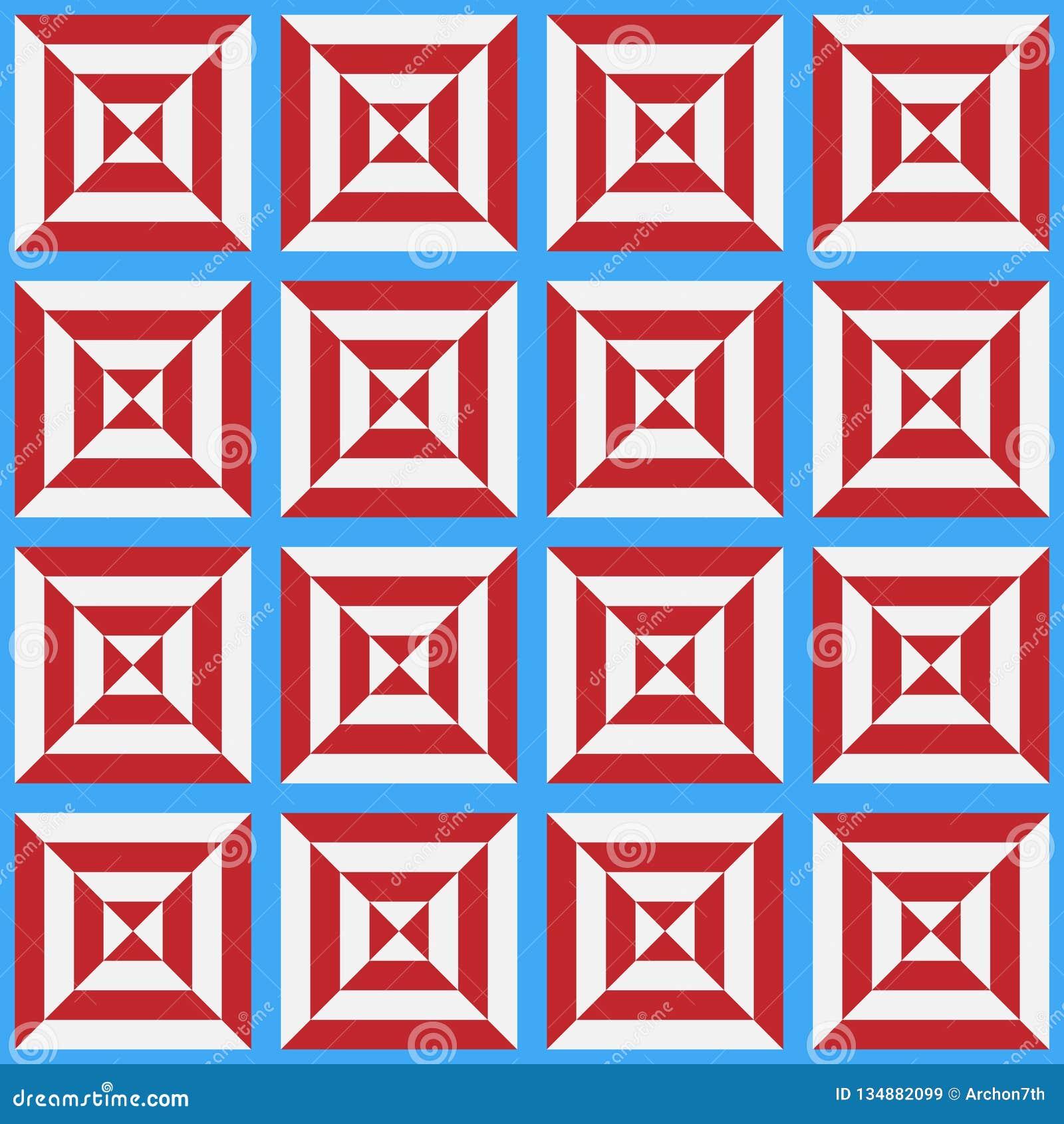 Teste padrão sem emenda da pilha branca e vermelha estilizado em um fundo azul