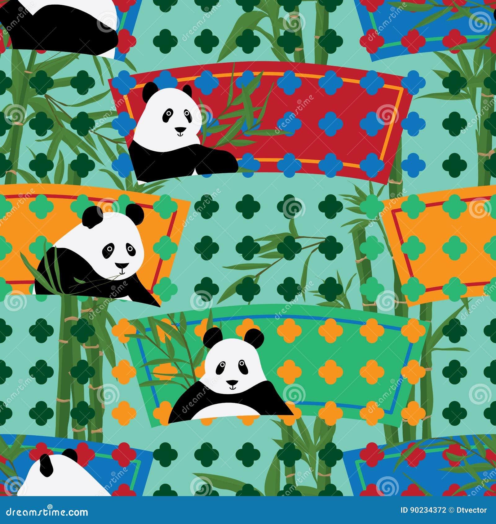 Teste padrão sem emenda da placa do jardim da forma do fã de Panda China