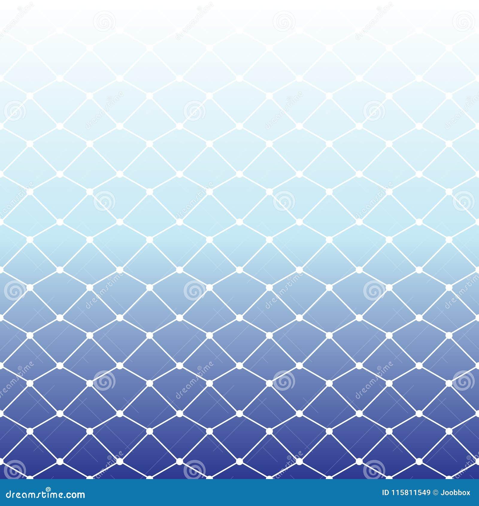 Teste padrão sem emenda da rede de pesca no backgrou branco e azul do inclinação