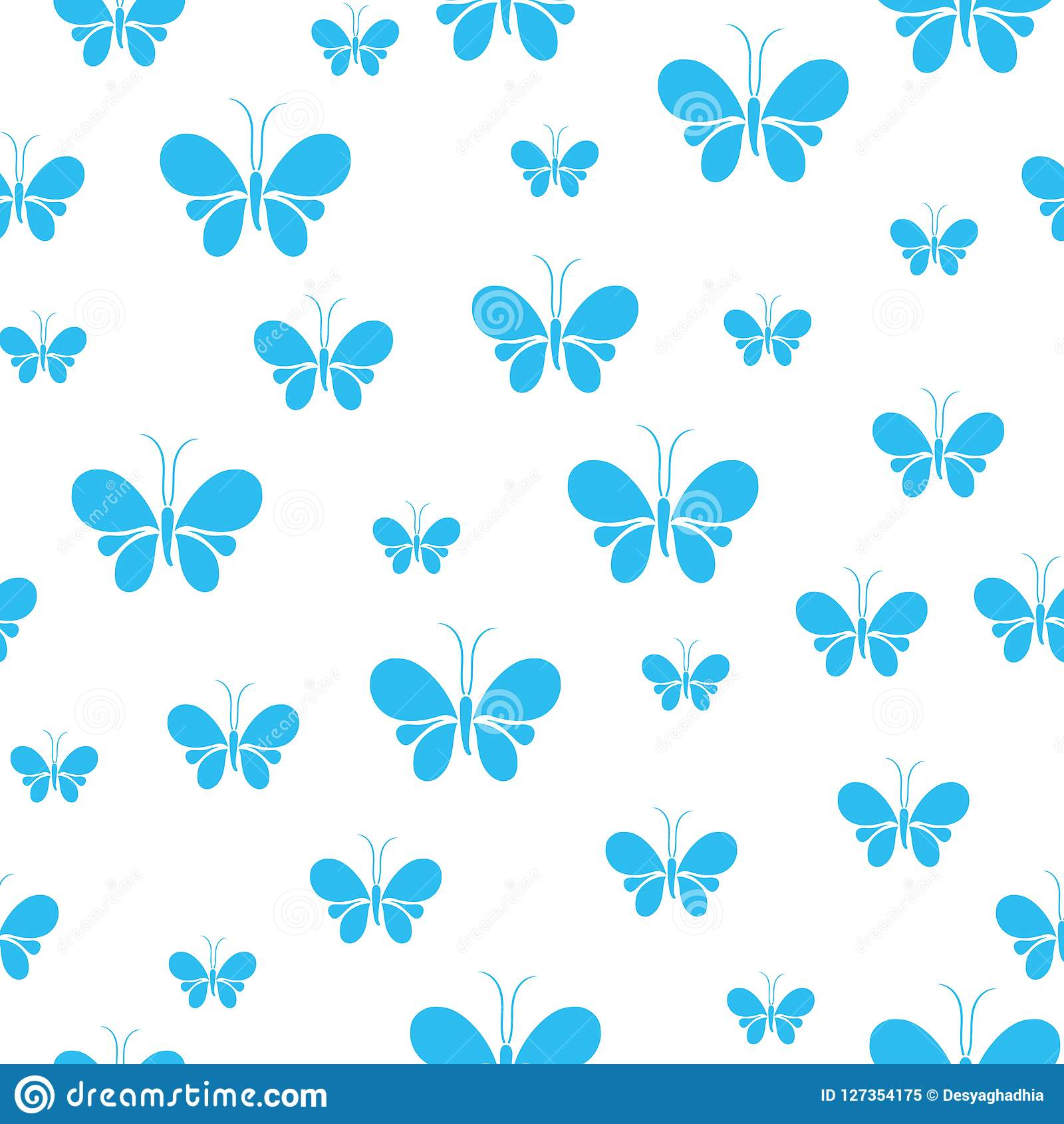 Teste padrão sem emenda das borboletas, teste padrão animal bonito com fundo branco