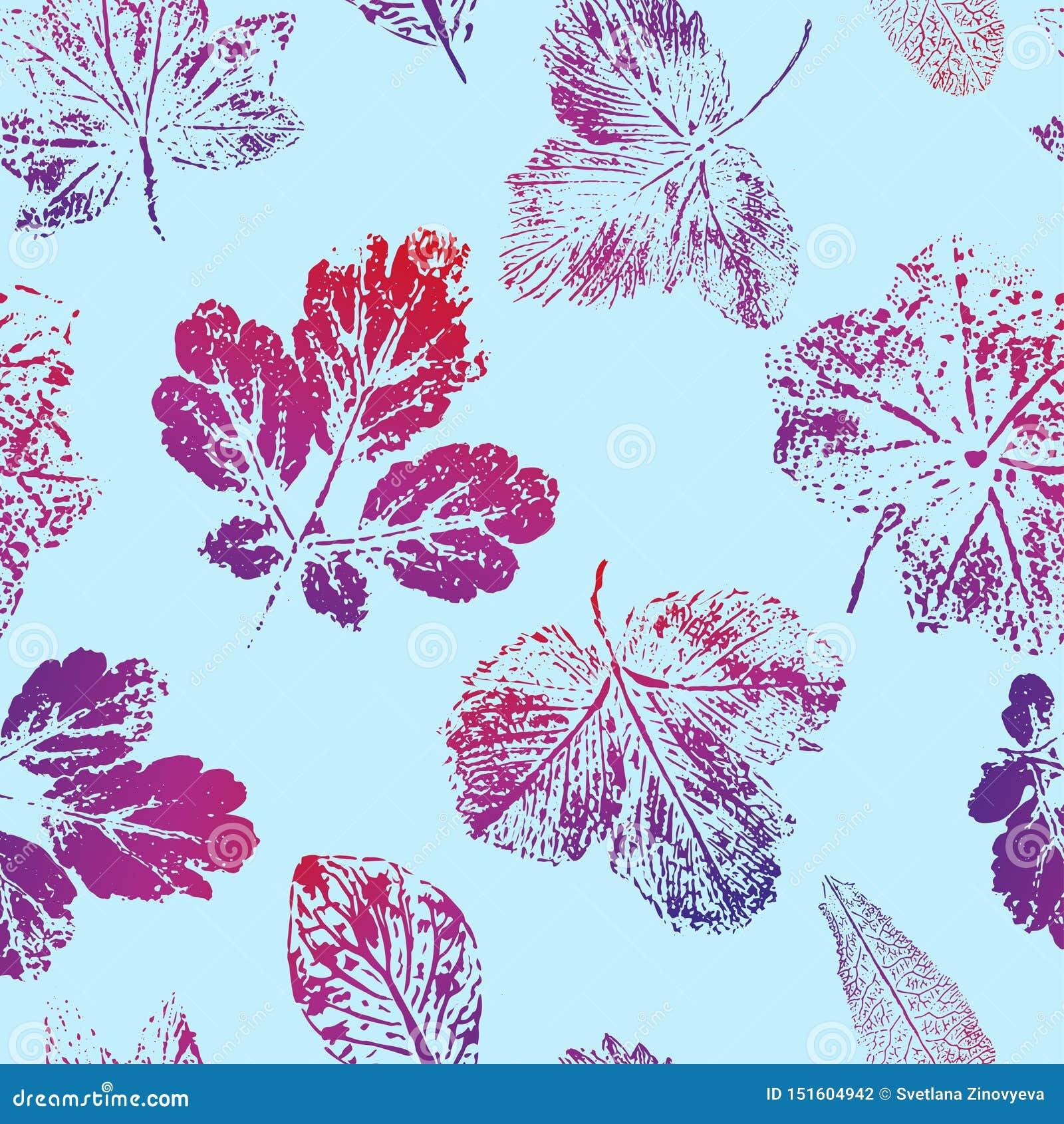 Teste padrão sem emenda das cópias das folhas vermelho-azuis em um fundo azul Vetor