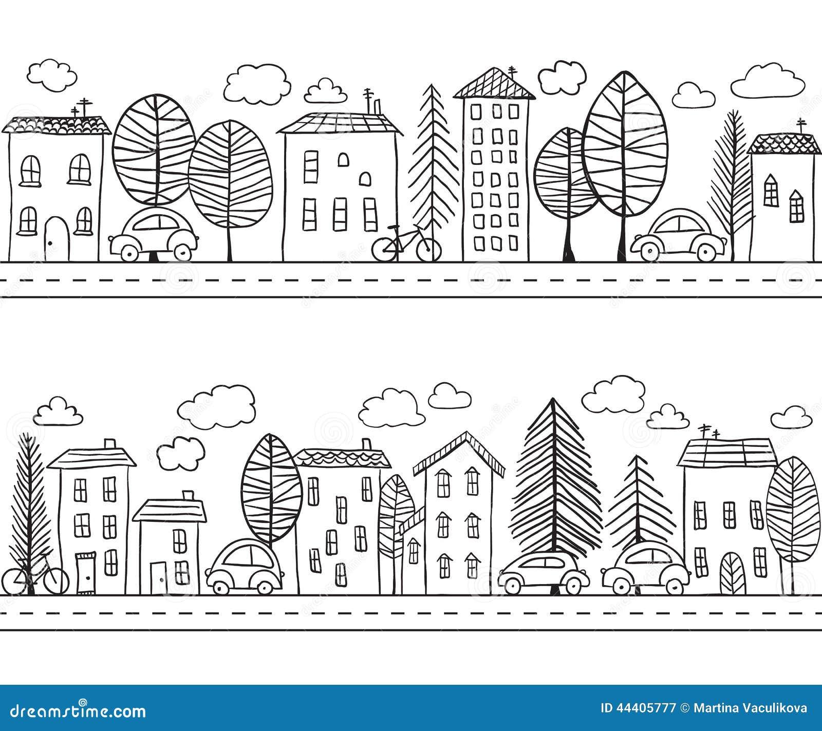 Teste padrão sem emenda das garatujas das casas