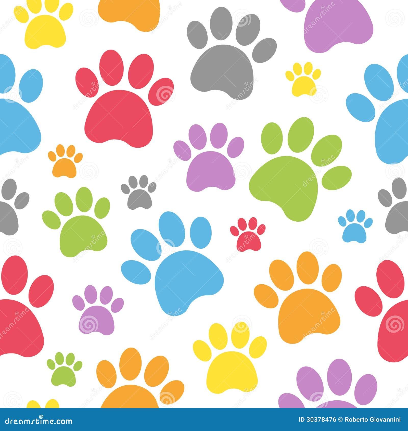 Teste padrão sem emenda das pegadas do cão