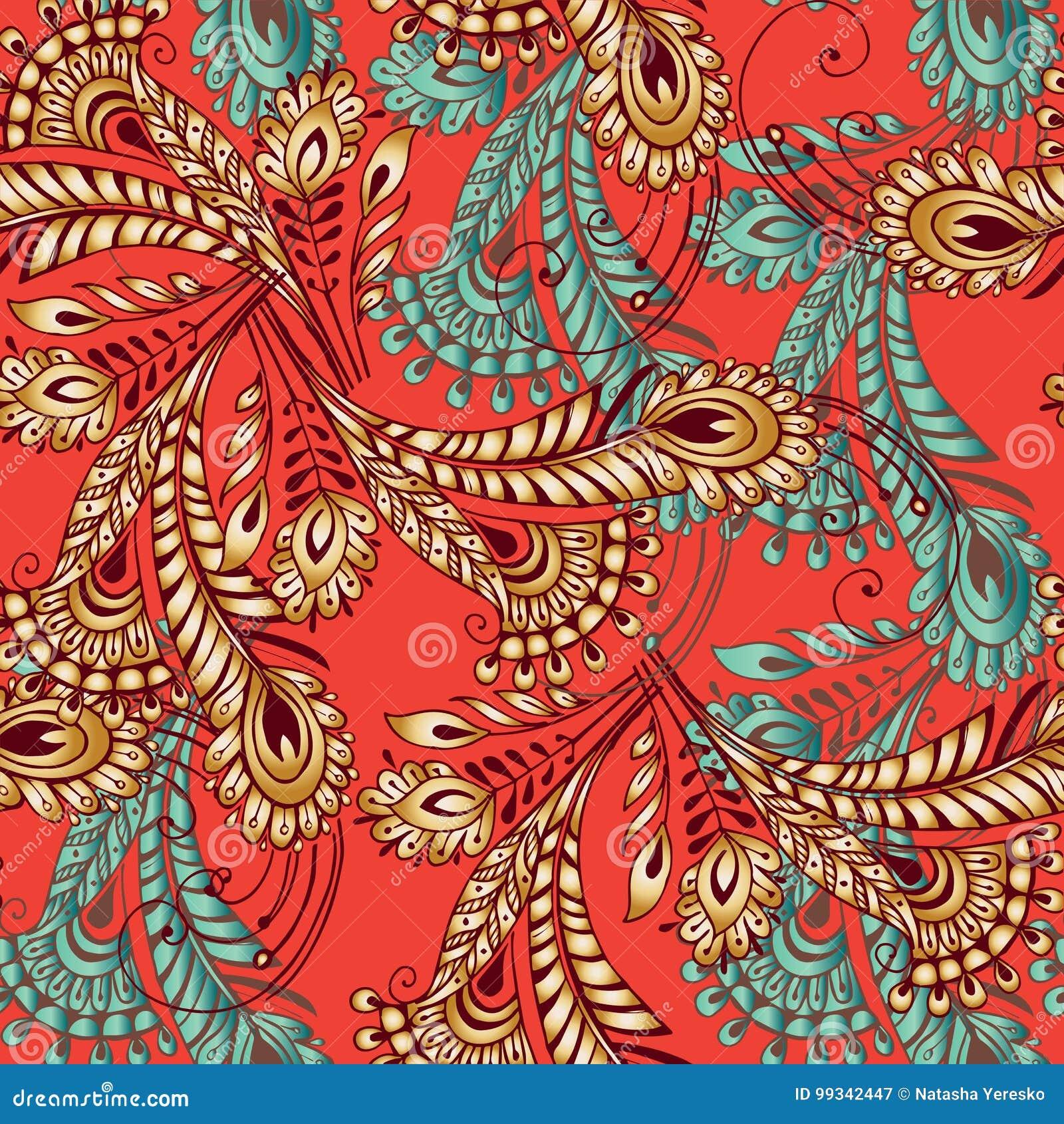Teste padrão sem emenda das penas coloridos no estilo oriental Decoros