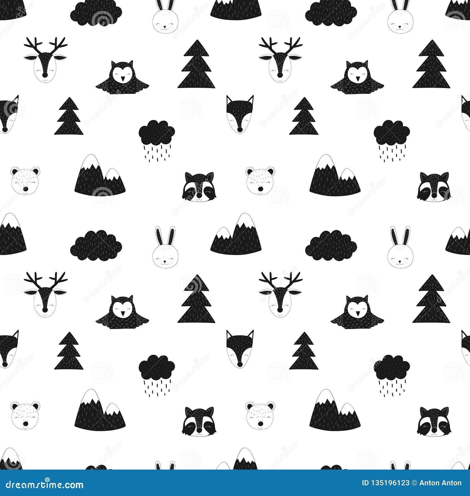 Teste padrão sem emenda de animais da floresta Ilustração desenhado à mão das crianças do escandinavo do vetor da raposa, cervo,