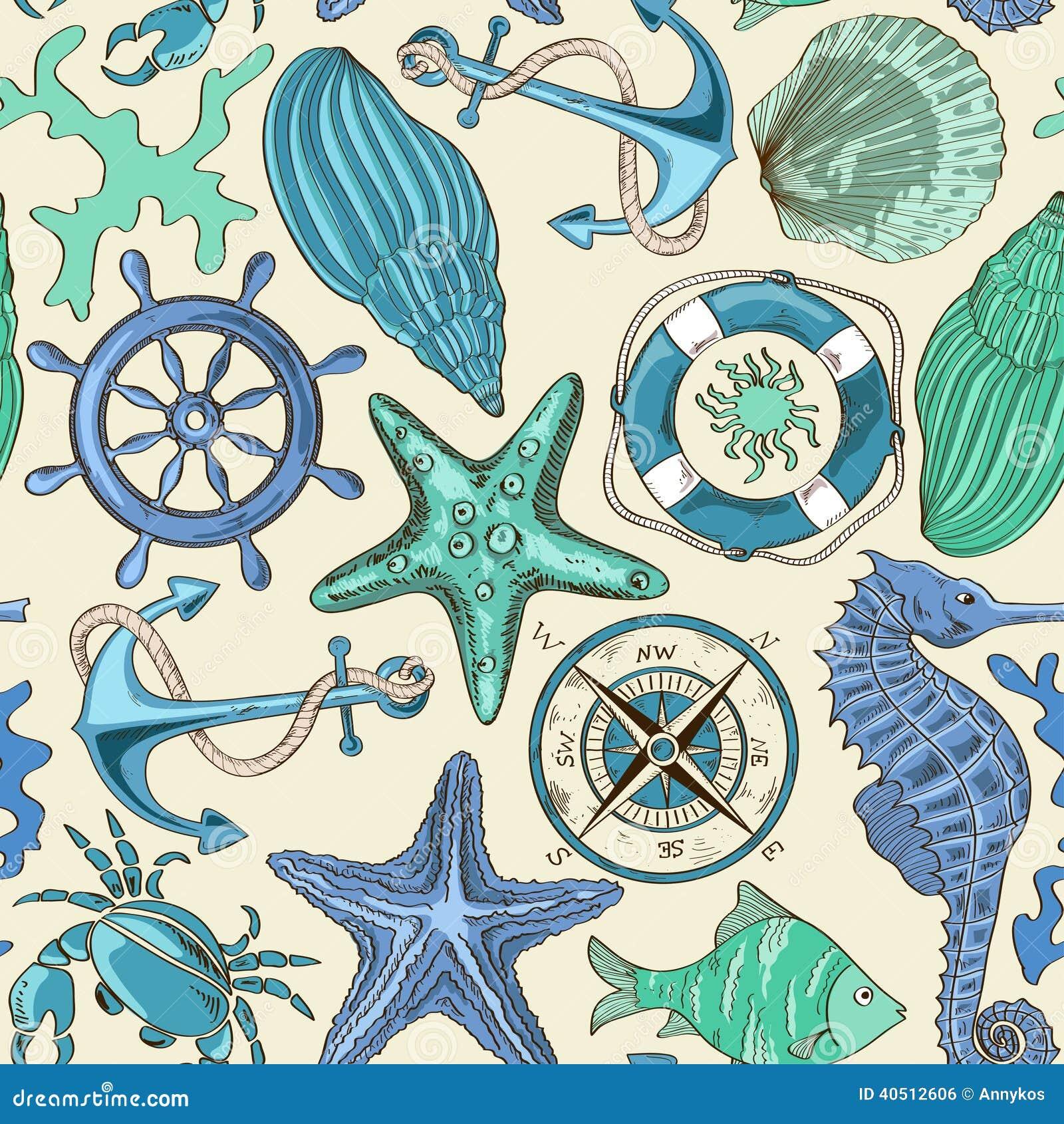 Teste padrão sem emenda de animais de mar e de elementos náuticos