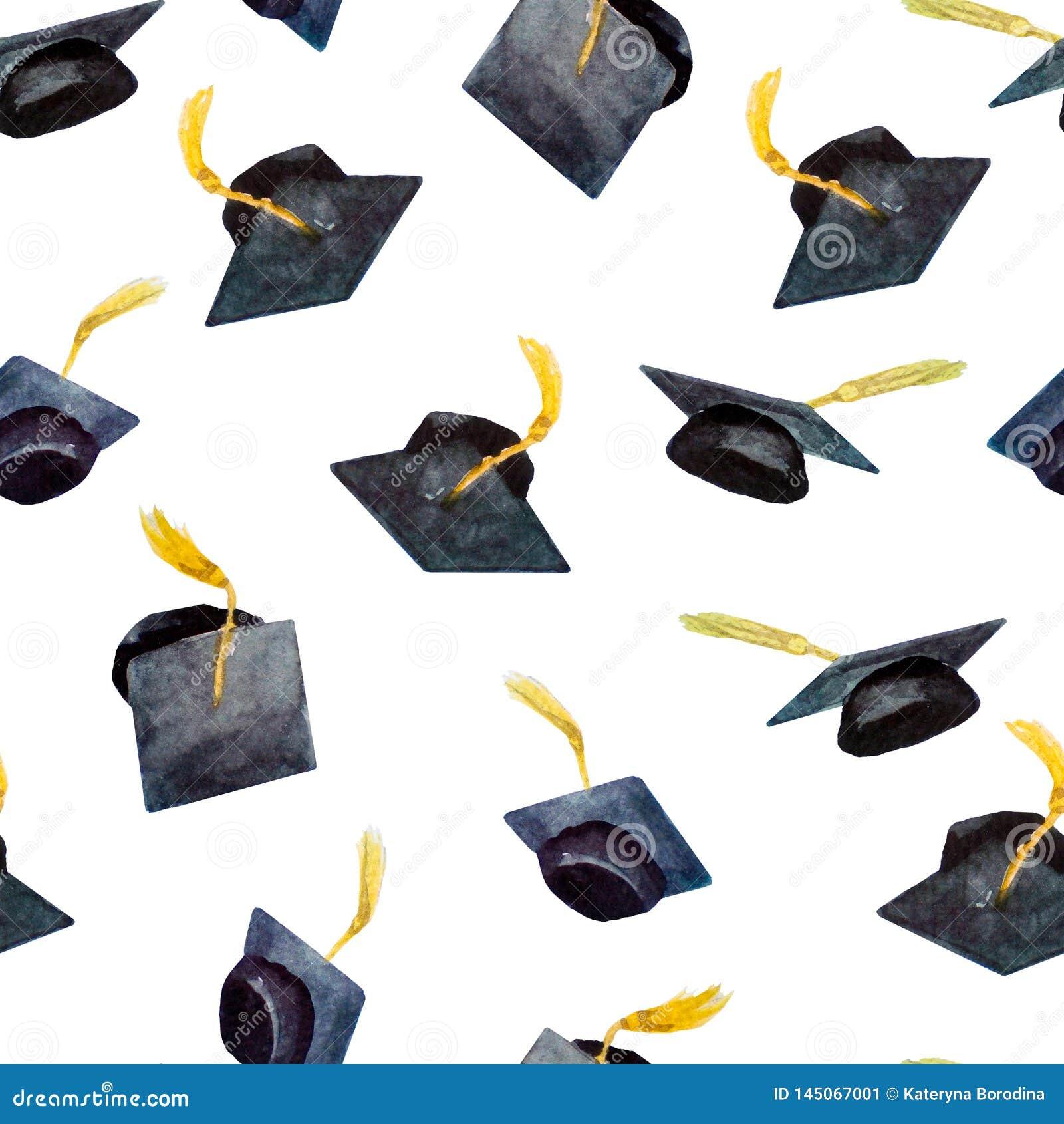 Teste padrão sem emenda de elementos para a graduação, tampões desenhados à mão da aquarela da graduação