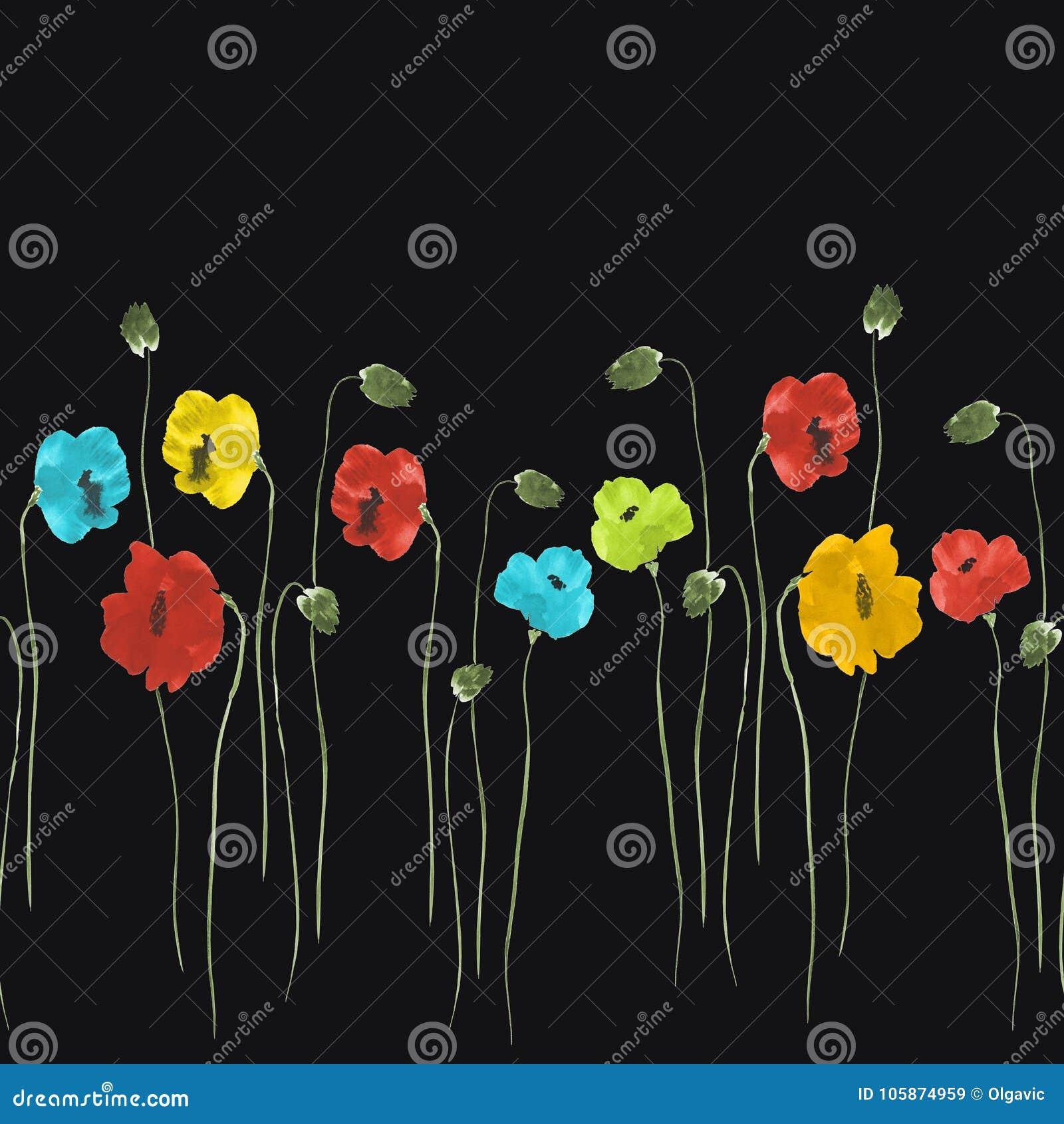 Teste padrão sem emenda de flores vermelhas, azuis, amarelas no fundo preto Aquarela -2