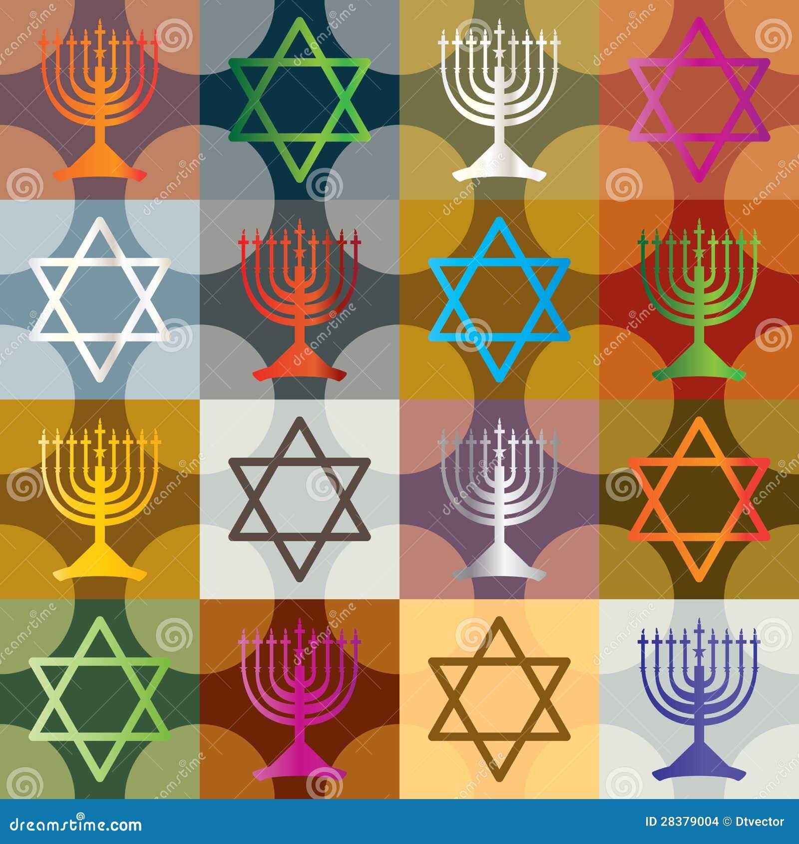 Teste padrão sem emenda de Hanukkah da silhueta colorida