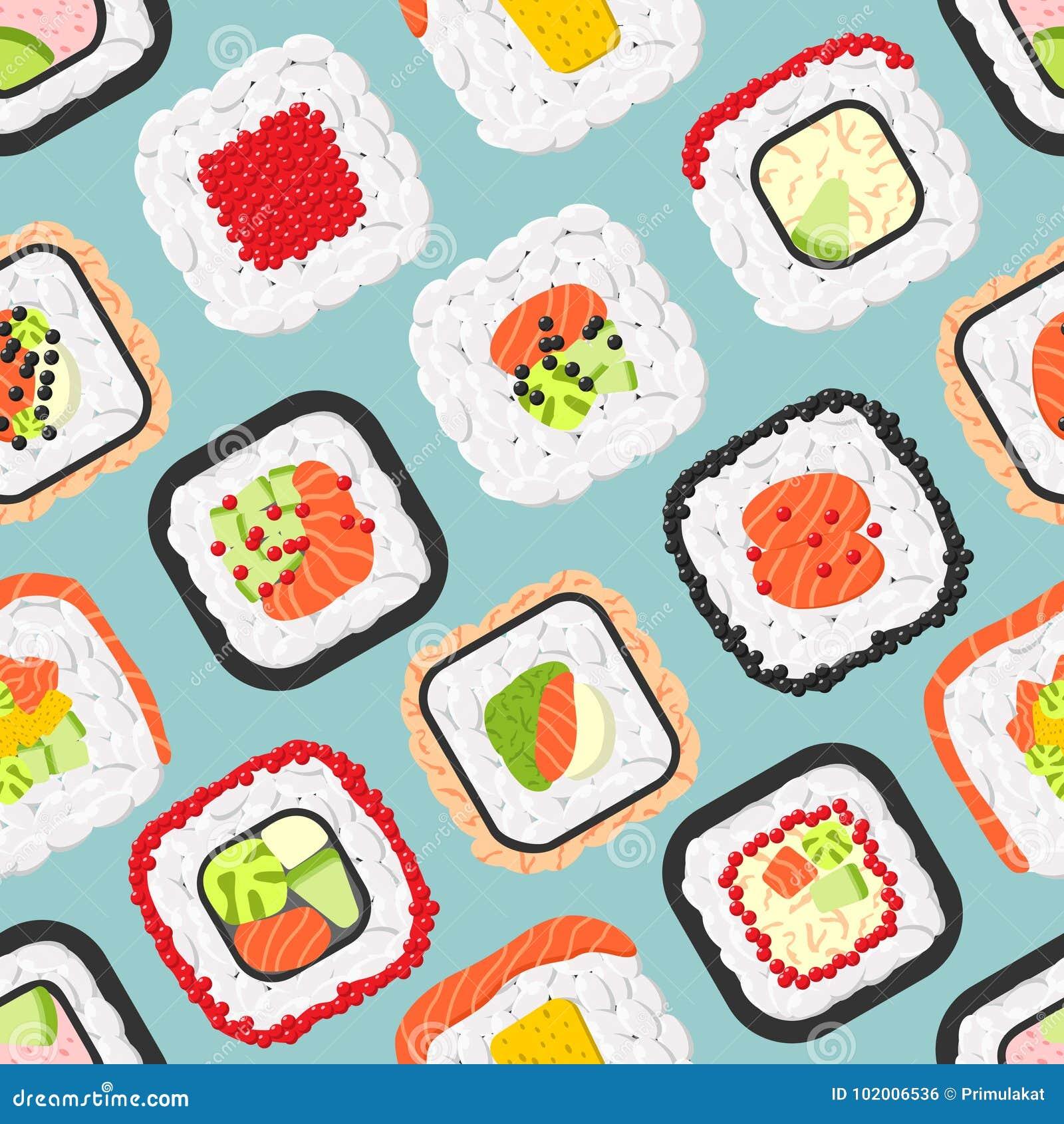 Teste padrão sem emenda de rolos de sushi coloridos bonitos