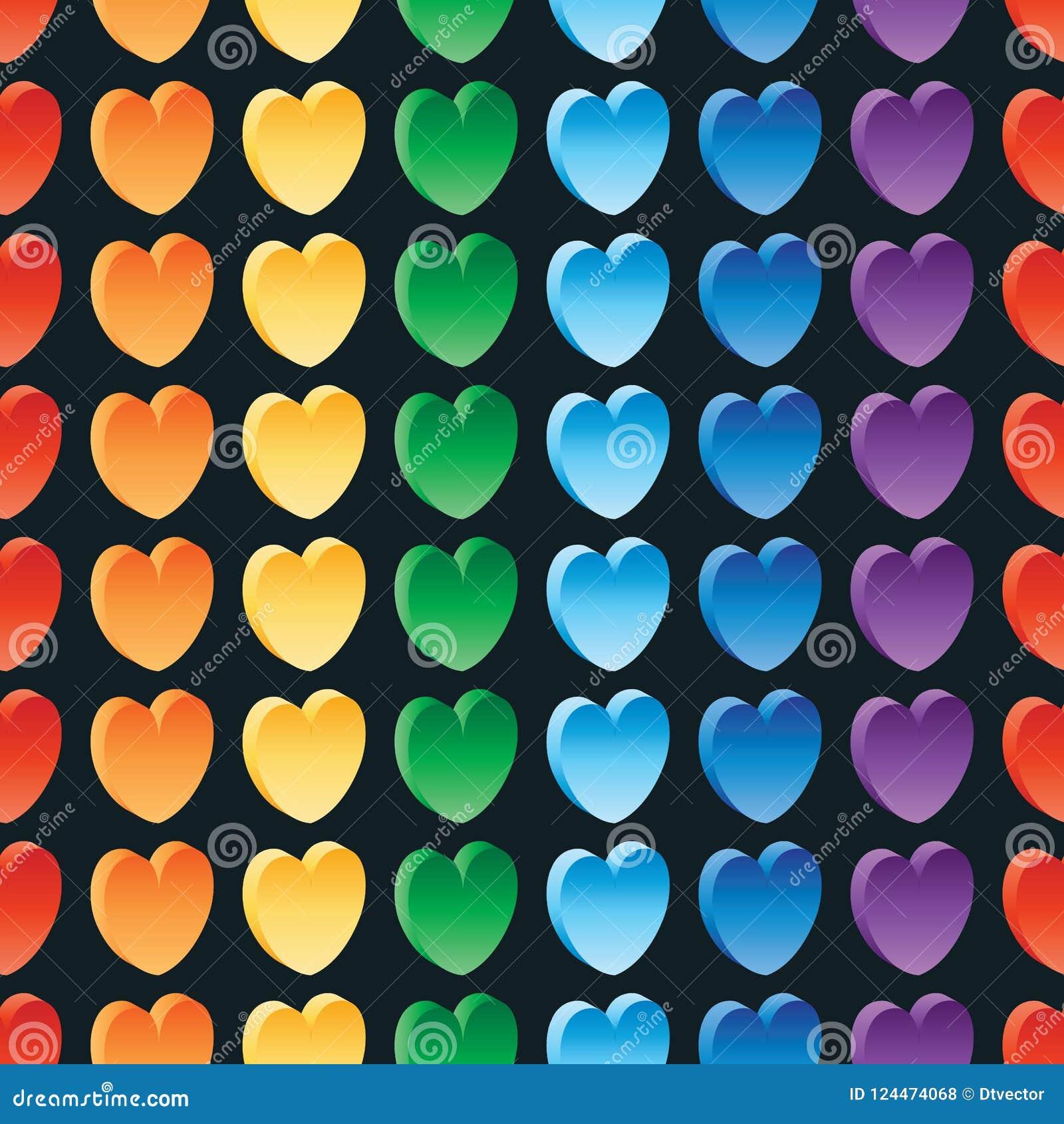 Teste padrão sem emenda do arco-íris do amor 3d