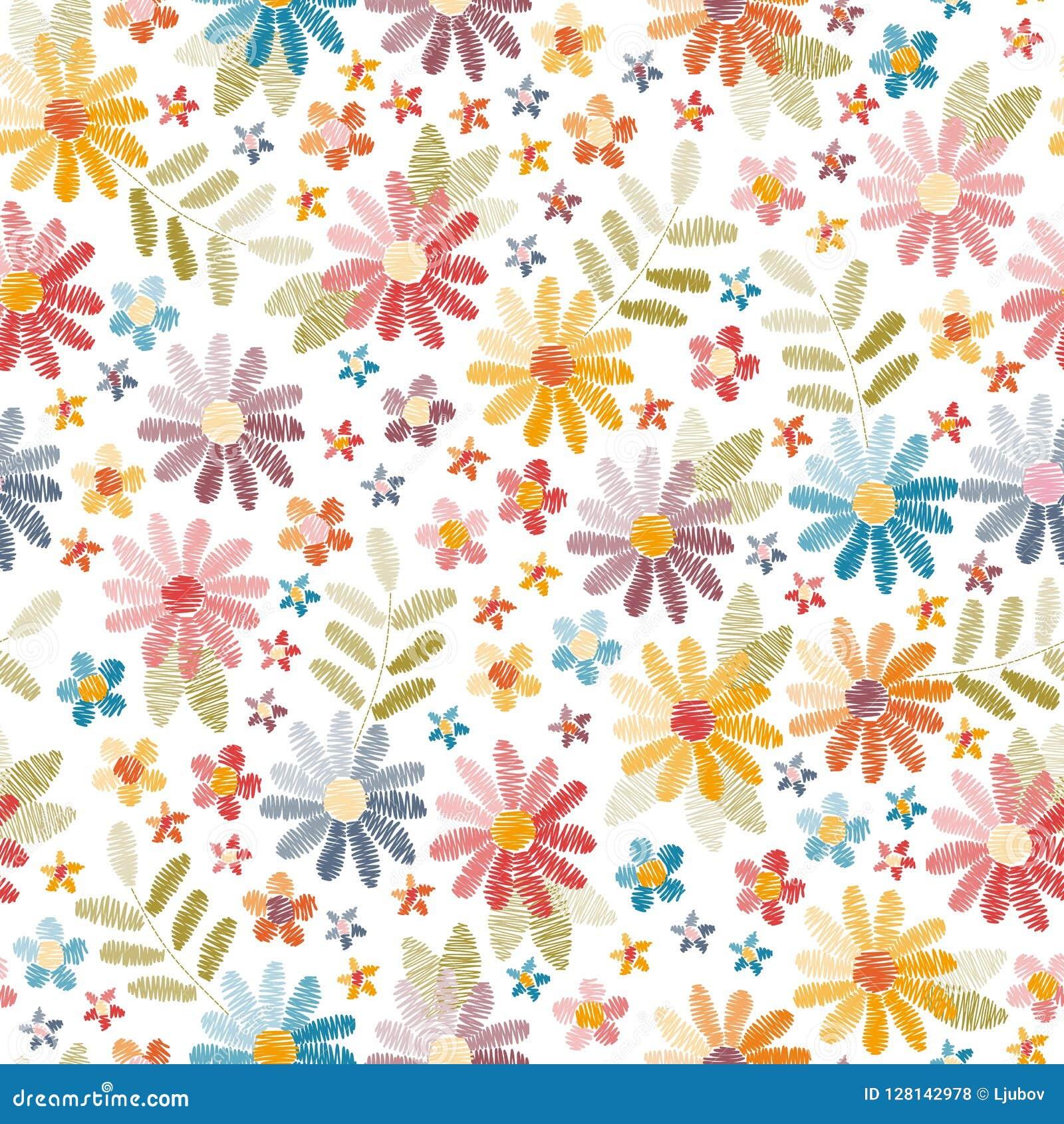 Teste padrão sem emenda do bordado Flores bonitas e folhas isoladas no fundo branco Bordado colorido